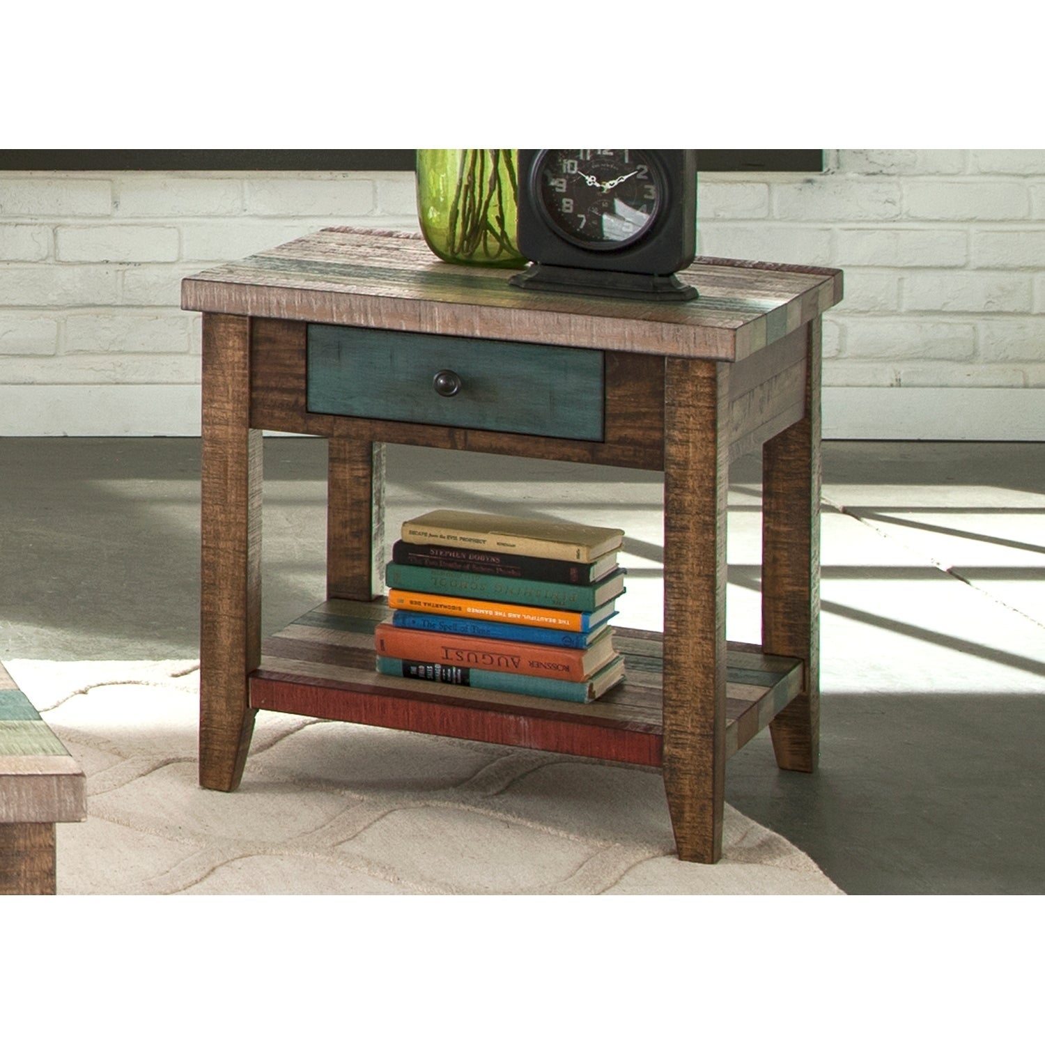 Boho Loft Rustic Multi Color End Table Free Shipping Today