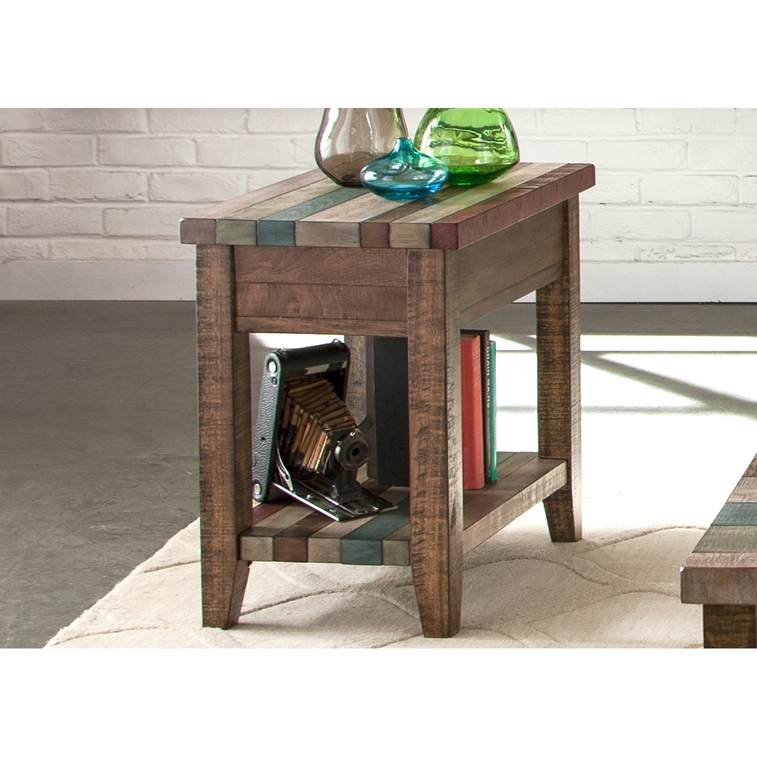 Boho Loft Rustic Multi Color Chair Side Table Free Shipping