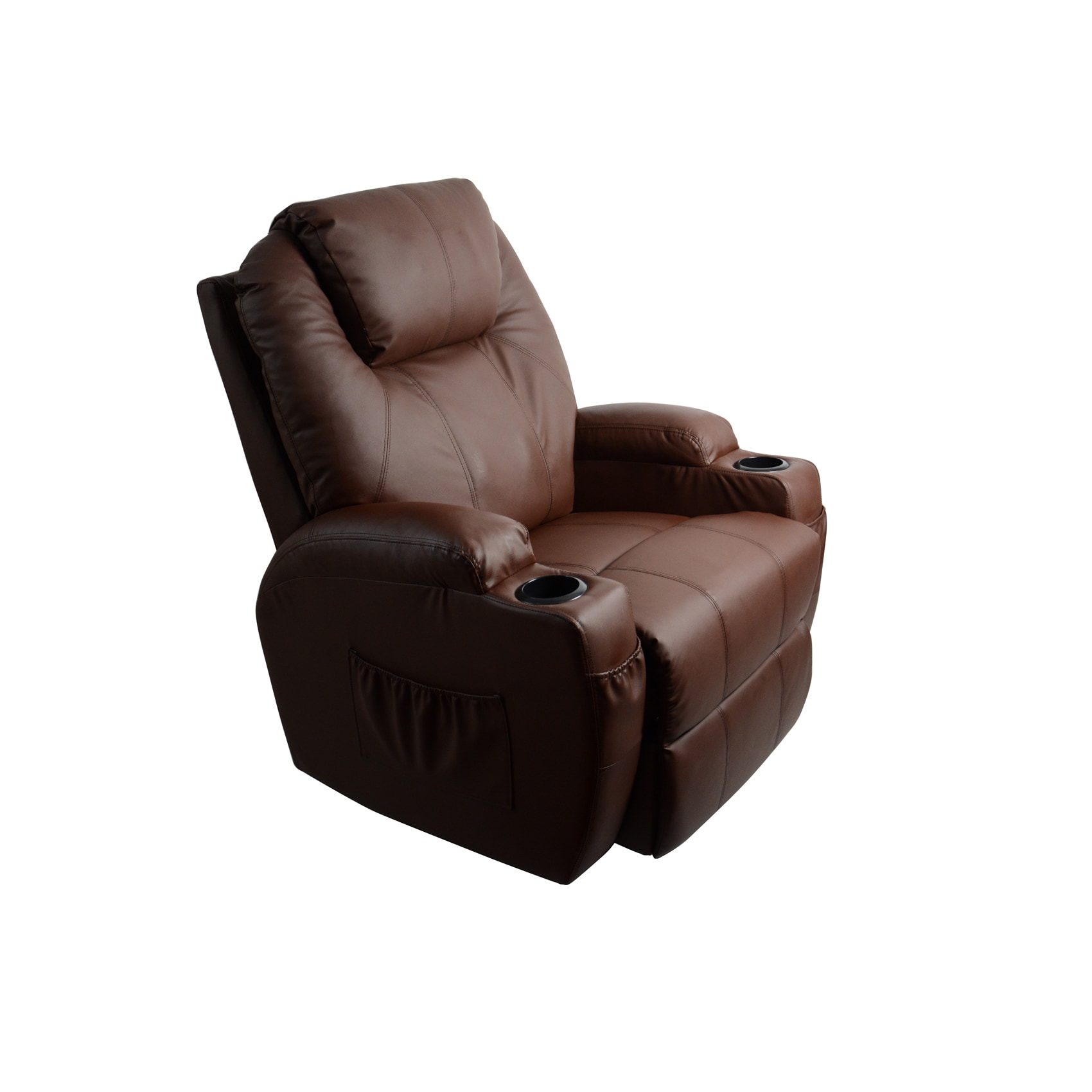 Shop MCombo Brown Massage Recliner Vibrating Sofa Heated Leather   Free  Shipping Today   Overstock.com   14415454