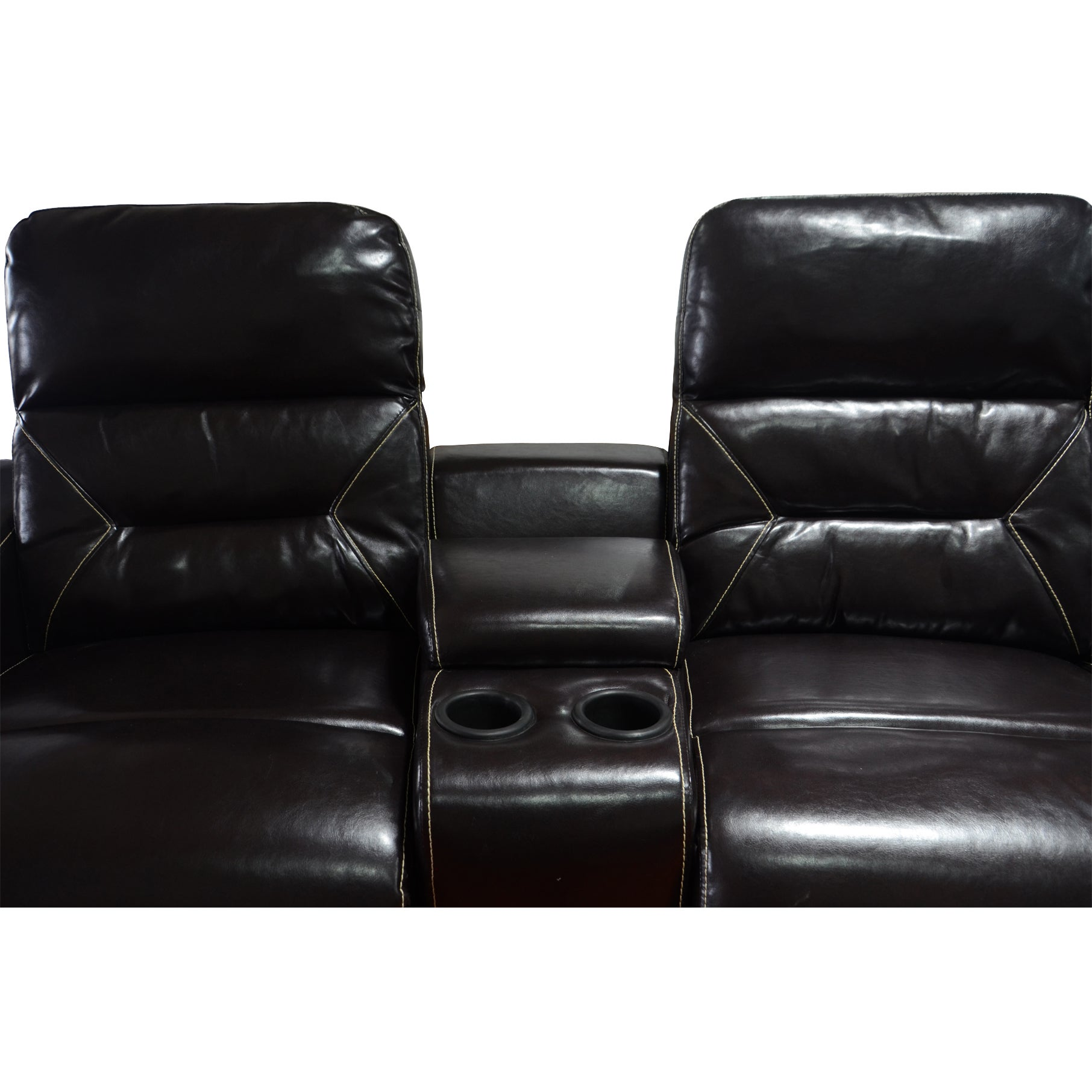 Shop MCombo Faux Leather 4 Seat Home Theater Recliner Sofa   Free Shipping  Today   Overstock.com   14415509