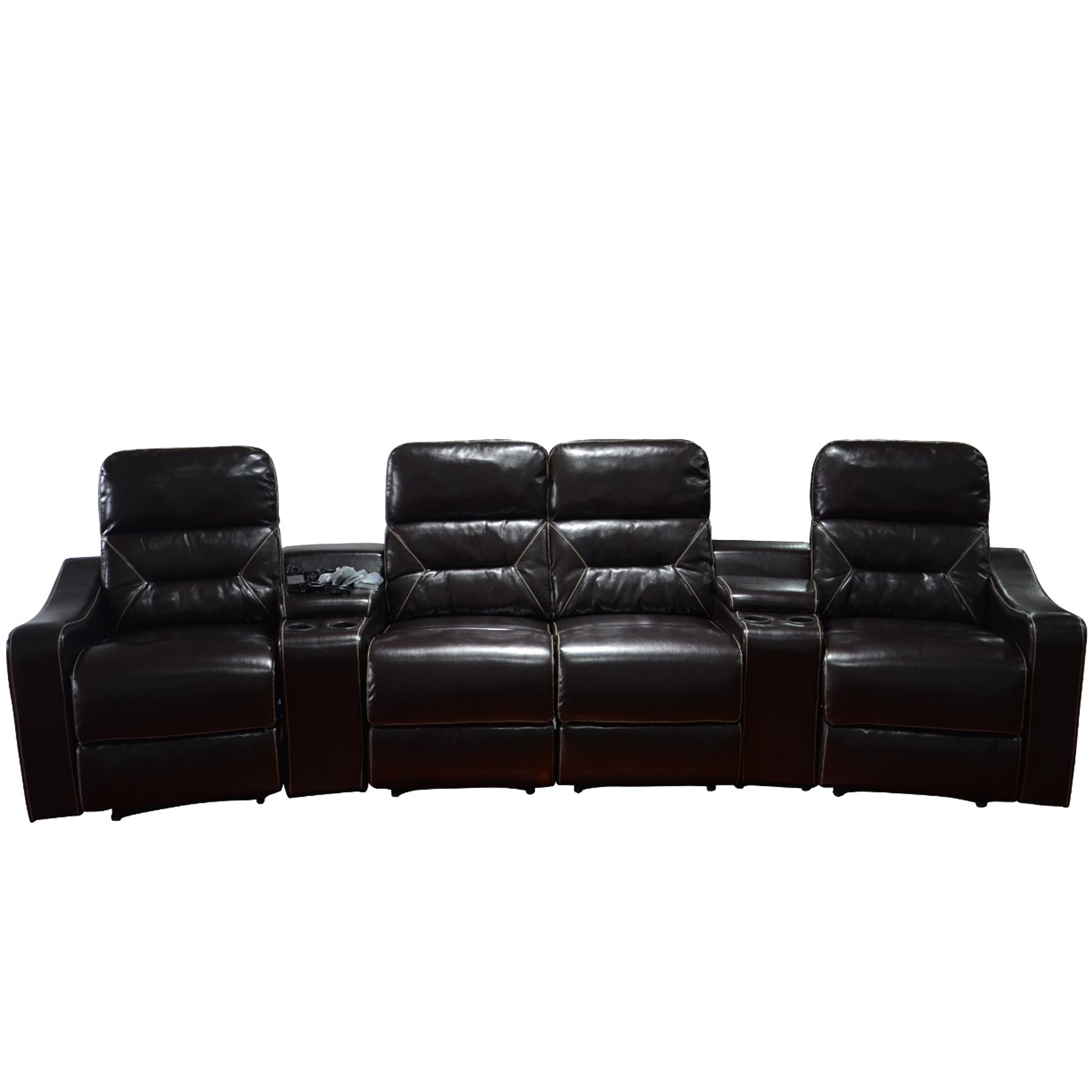 Delightful Shop MCombo Faux Leather 4 Seat Home Theater Recliner Sofa   Free Shipping  Today   Overstock.com   14415509
