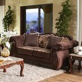 Furniture of America Renold Traditional Brown Printed Chenille Fabric Loveseat