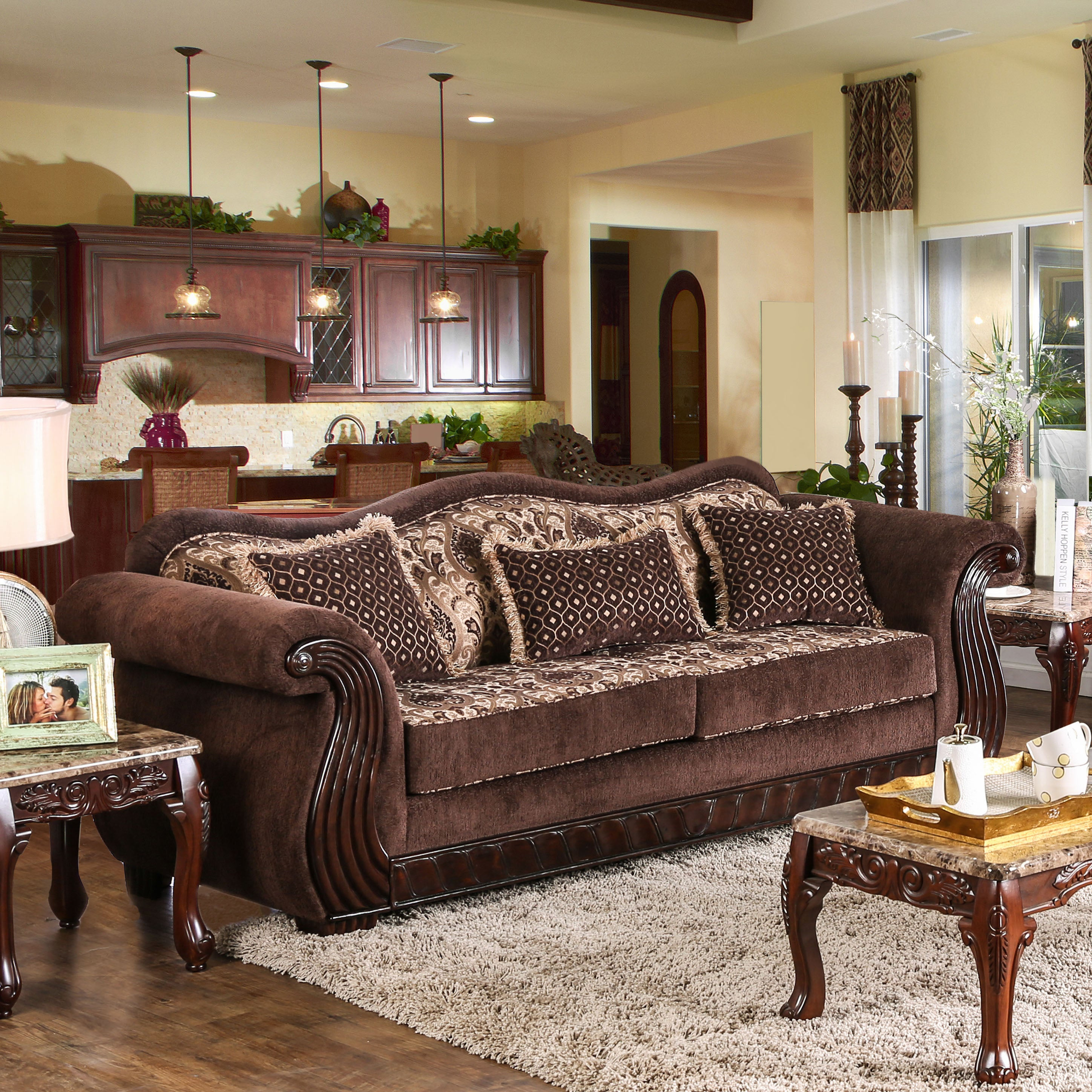 Shop furniture of america renold traditional brown printed chenille fabric sofa on sale free shipping today overstock com 14415785