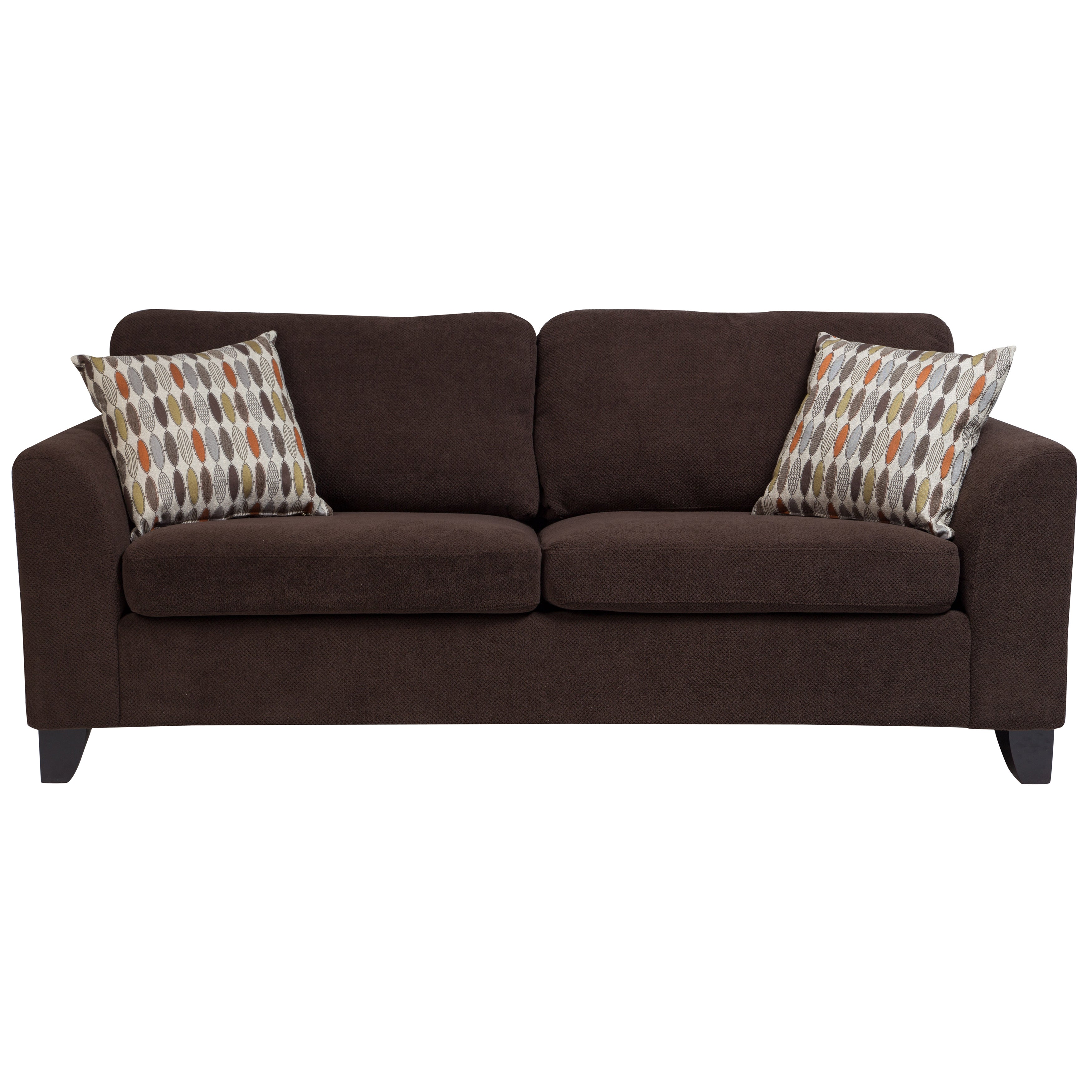 Shop porter brighton chocolate brown textured microfiber contemporary sleeper sofa with 2 woven accent pillows free shipping today overstock com