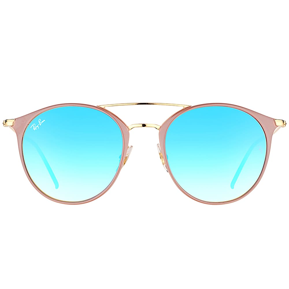 5f7bd23d1d6 Shop Ray-Ban RB 3546 90118B Gold Top Beige Metal Round Sunglasses with Blue  Flash Mirror Gradient Lens - Free Shipping Today - Overstock - 14425499
