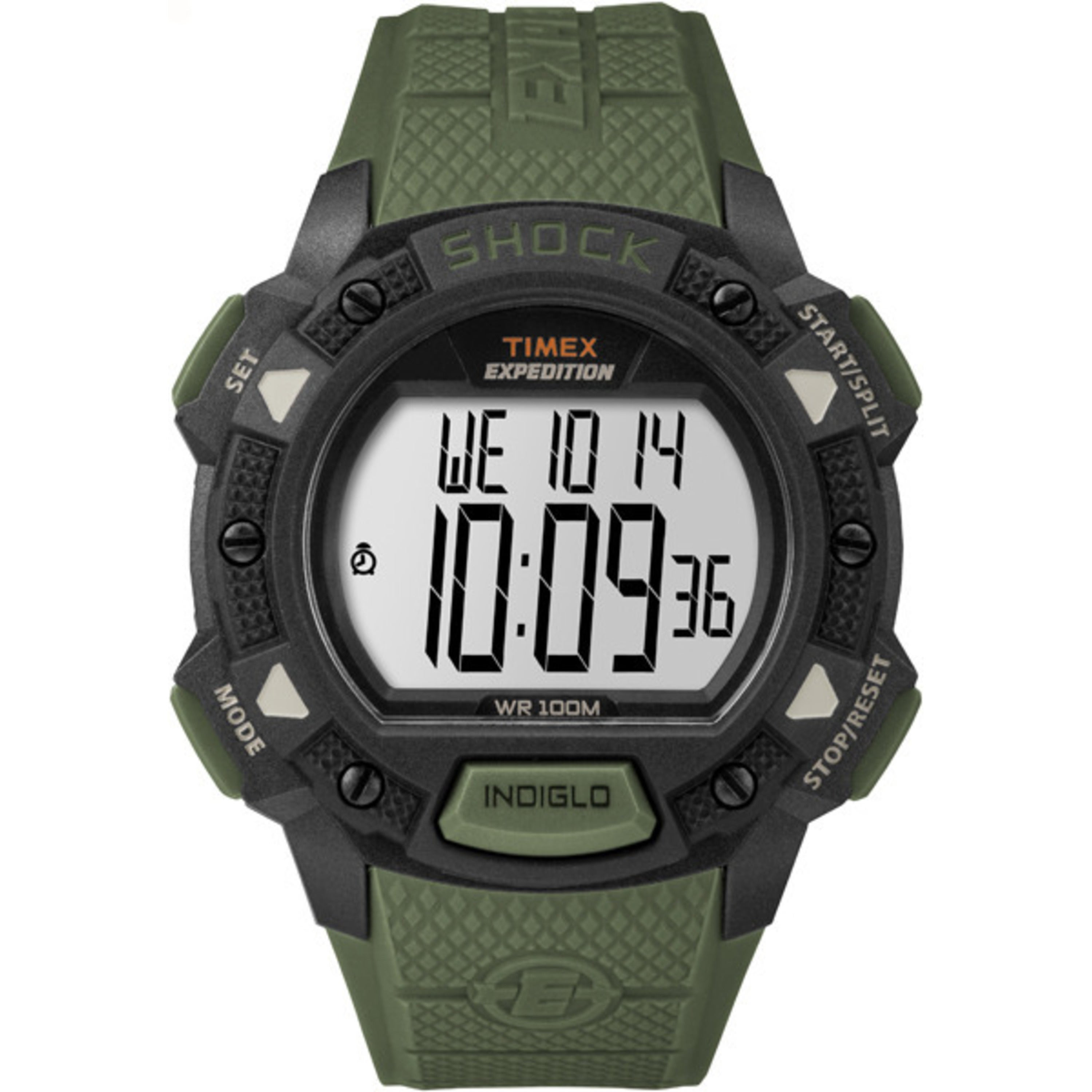 ed068019824d Timex Men s TW4B09300 Expedition Base Shock Green Black Resin Strap Watch