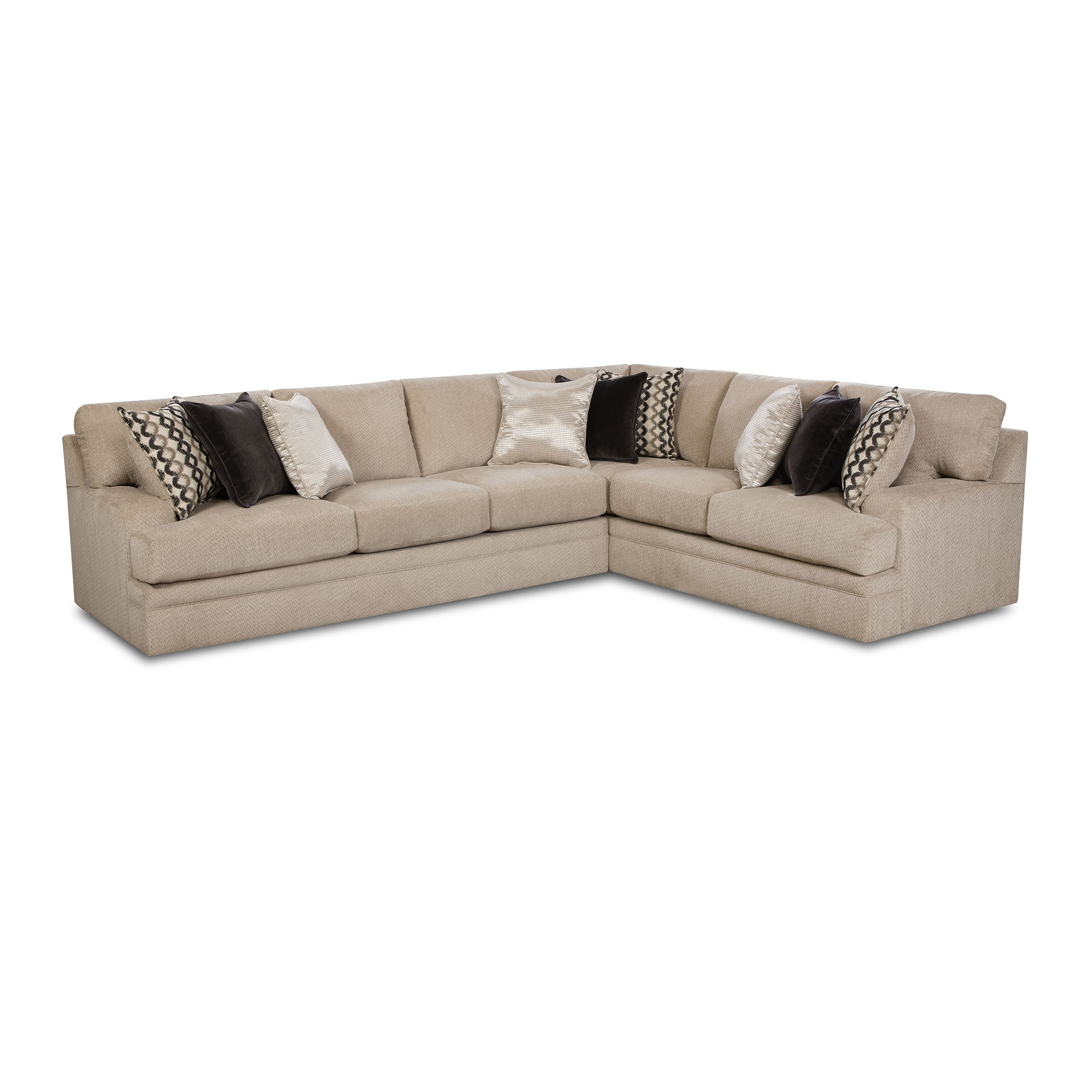 Shop Simmons Upholstery Bellamy Putty Sectional with ottoman - Free ...