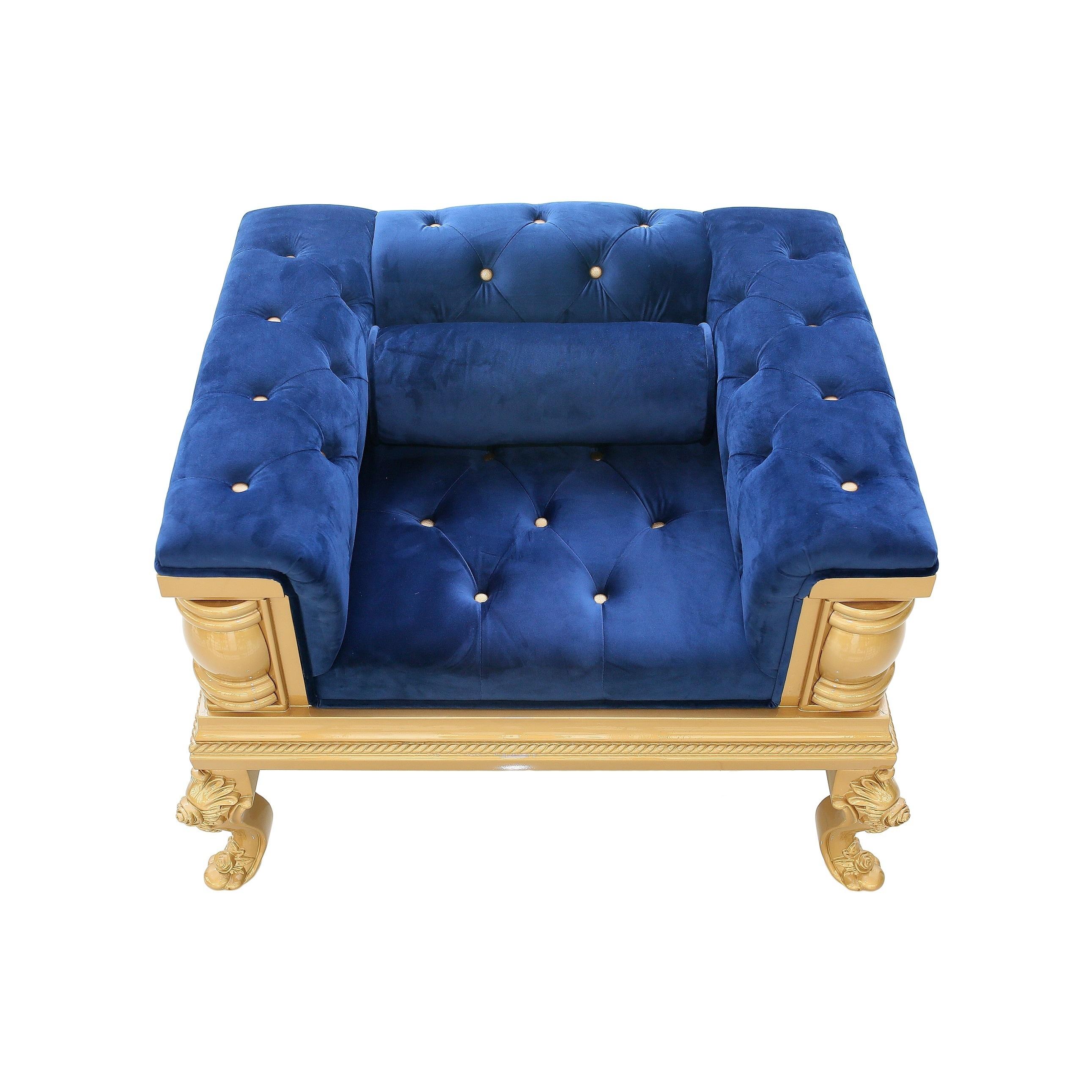 Gothic Inspired Royal Blue Velvet Single Sofa