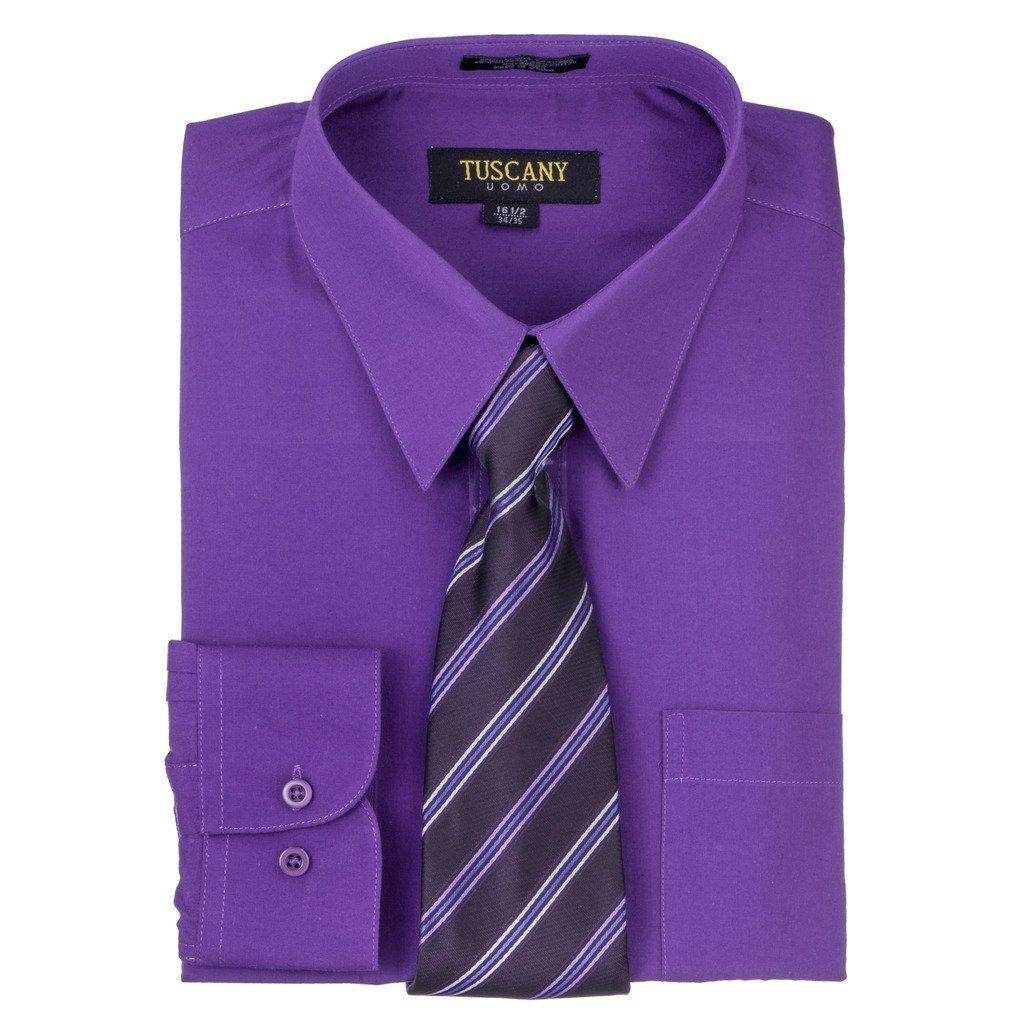 Shop Tuscany Mens Dark Purple Regular Fit Long Sleeve Dress Shirt