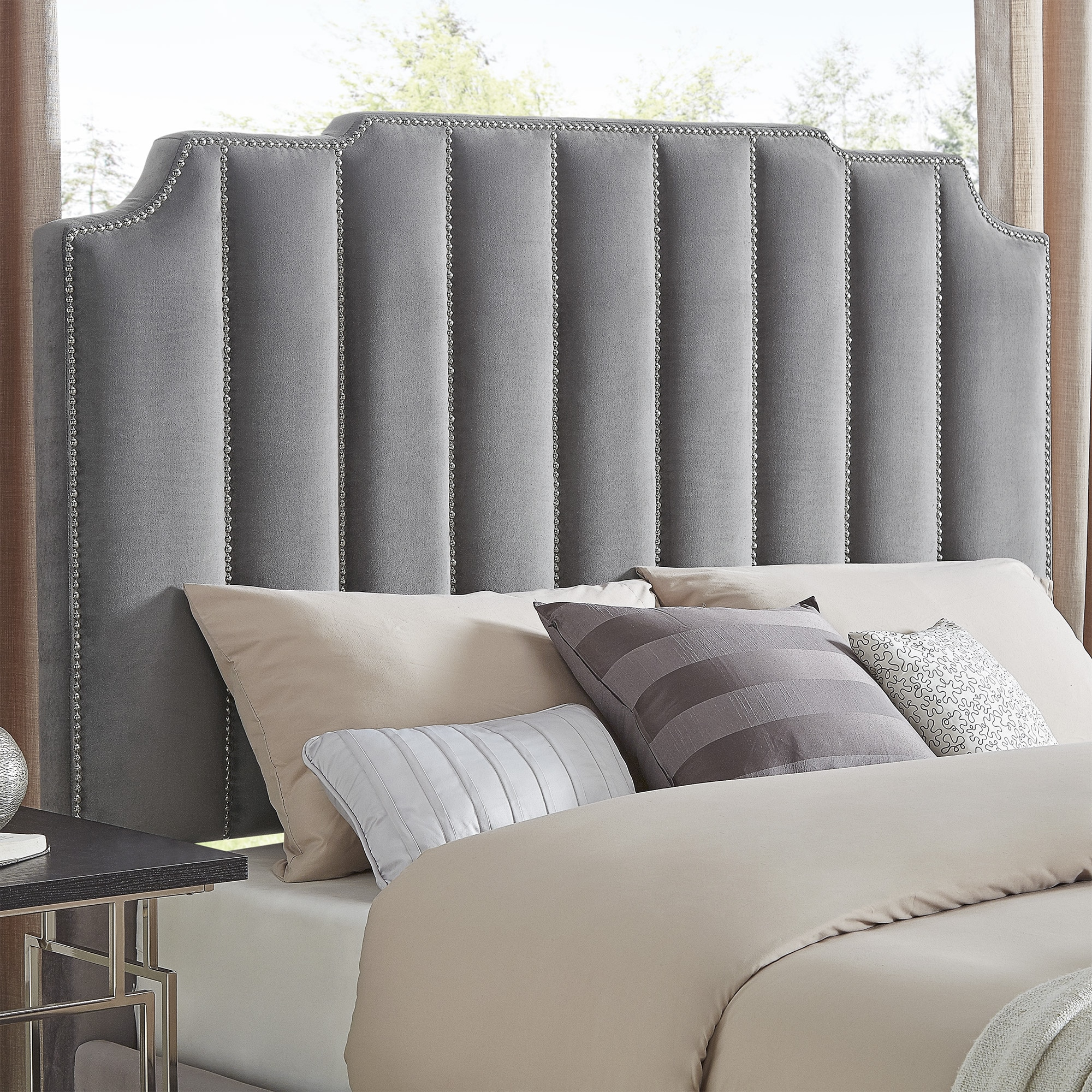 Shop Chareau Full Size Velvet Upholstered Nailhead Bed And Headboard