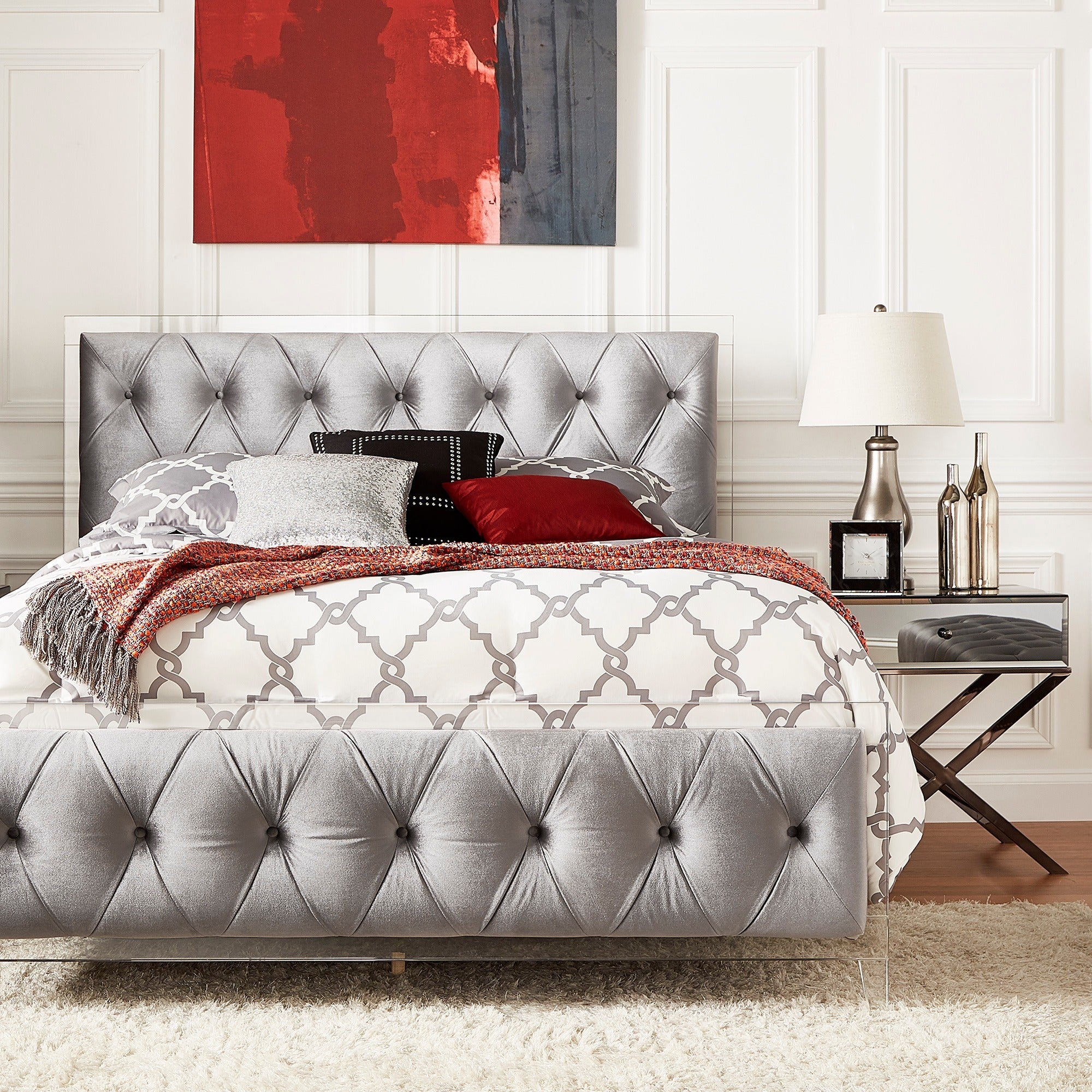 Anya King-size Velvet Button Tufted Acrylic Headboard and Bed by iNSPIRE Q  Bold - Free Shipping Today - Overstock.com - 20994610