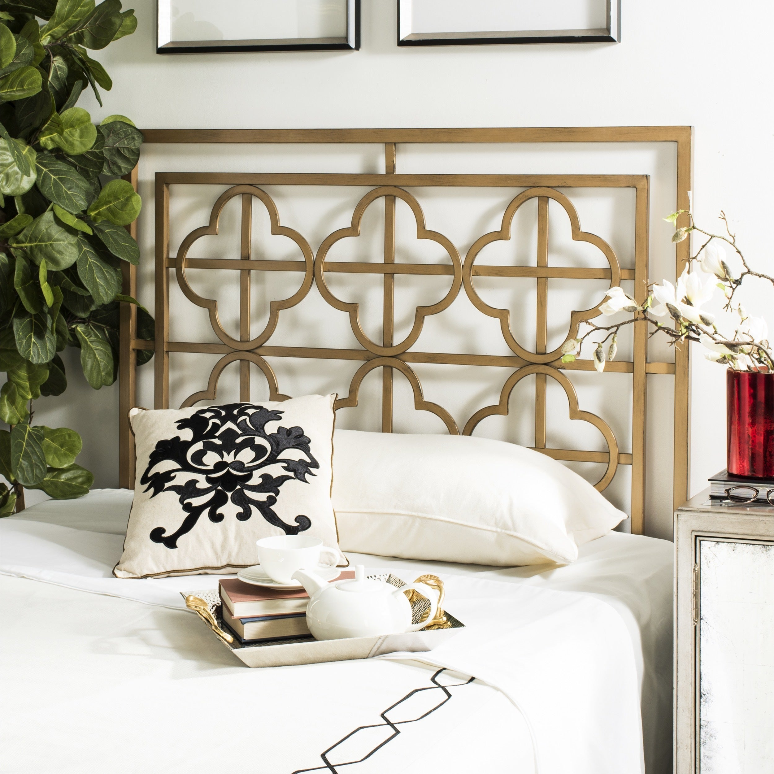 with design traditoinal gold anitque coaster black iron scroll metal in queen headboard bed