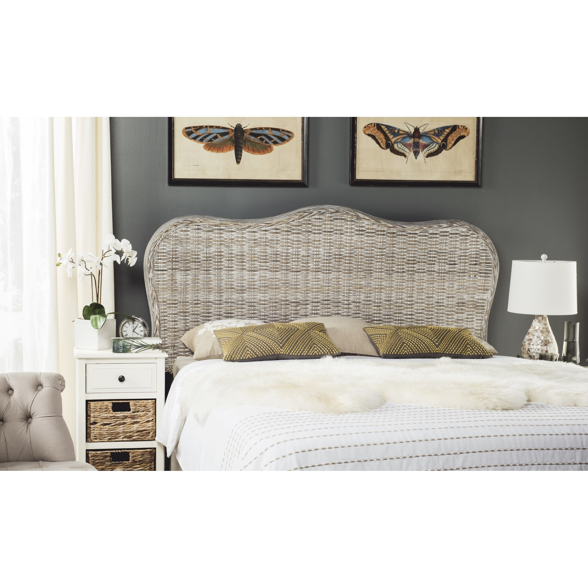 Shop Safavieh Imelda White Washed Headboard Queen Free Shipping