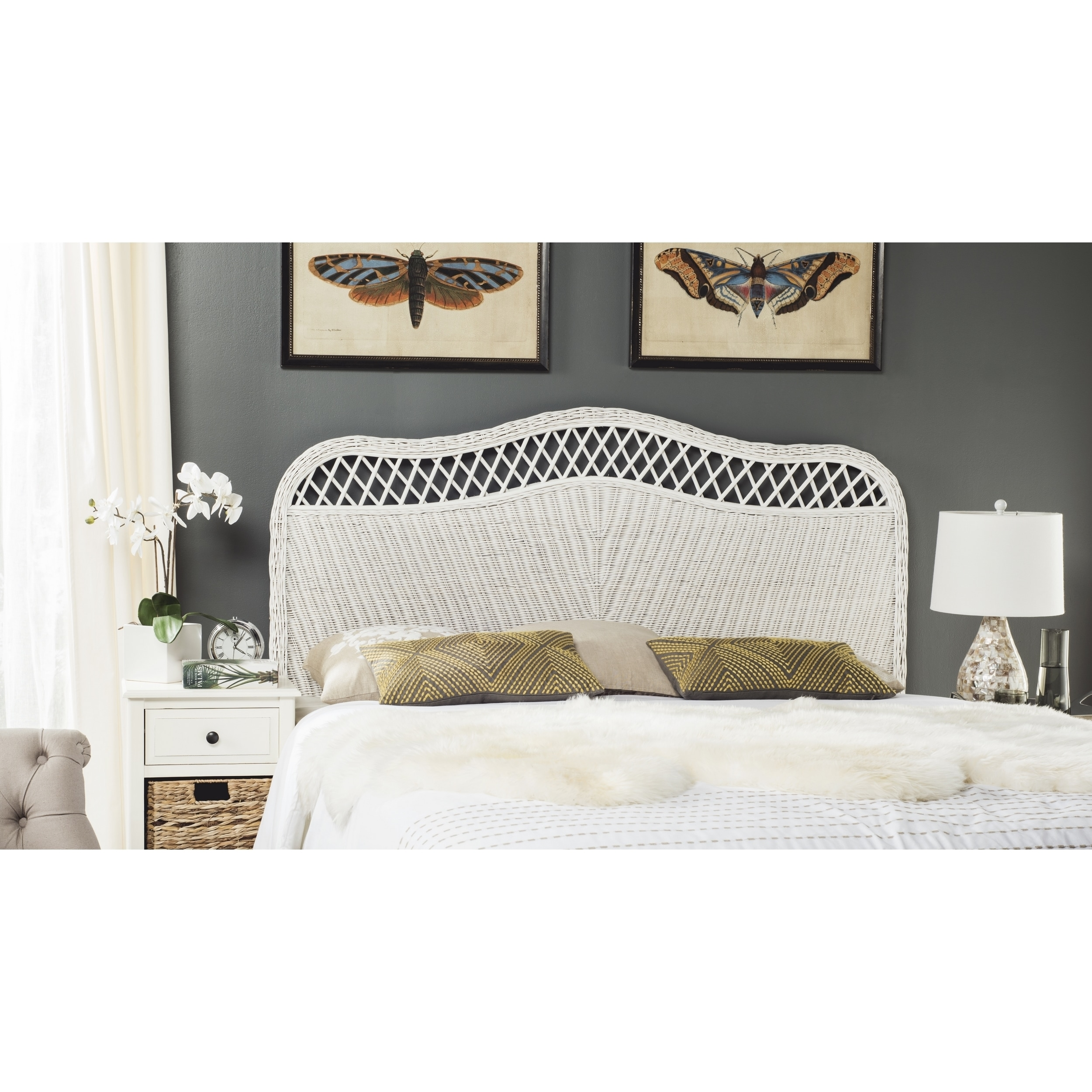 Safavieh Sephina White Rattan Headboard Queen On Sale Overstock 14428252