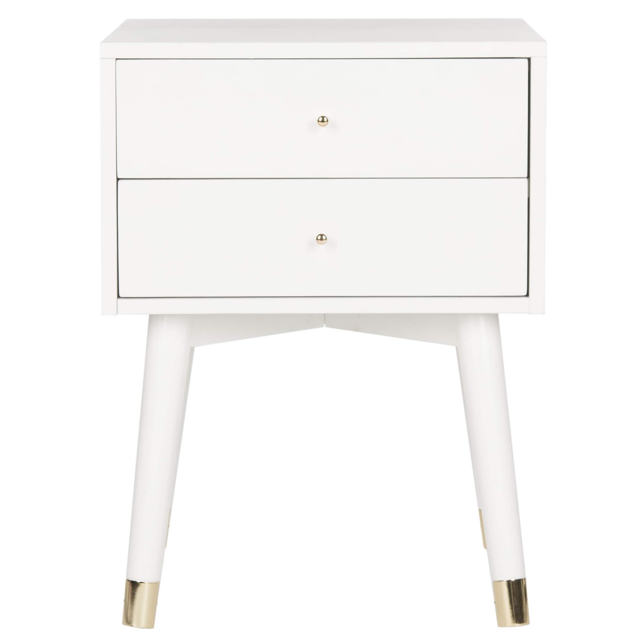 Safavieh Lyla Mid Century Retro White Gold Cap Nightstand On Free Shipping Today 14428408