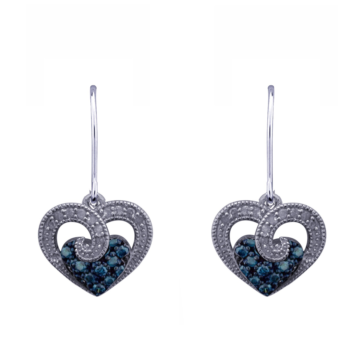 Blue Diamond Heart Earrings In Sterling Silver On Free Shipping Today 14429650