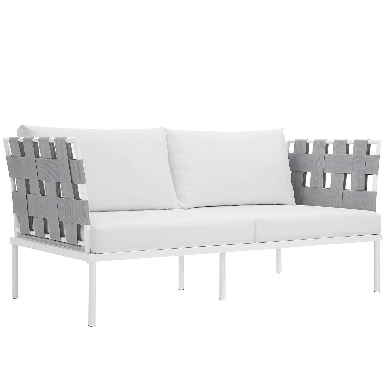 Shop Harmony 5 Piece Outdoor Patio Aluminum Sectional Sofa Set   On Sale    Free Shipping Today   Overstock.com   14430260