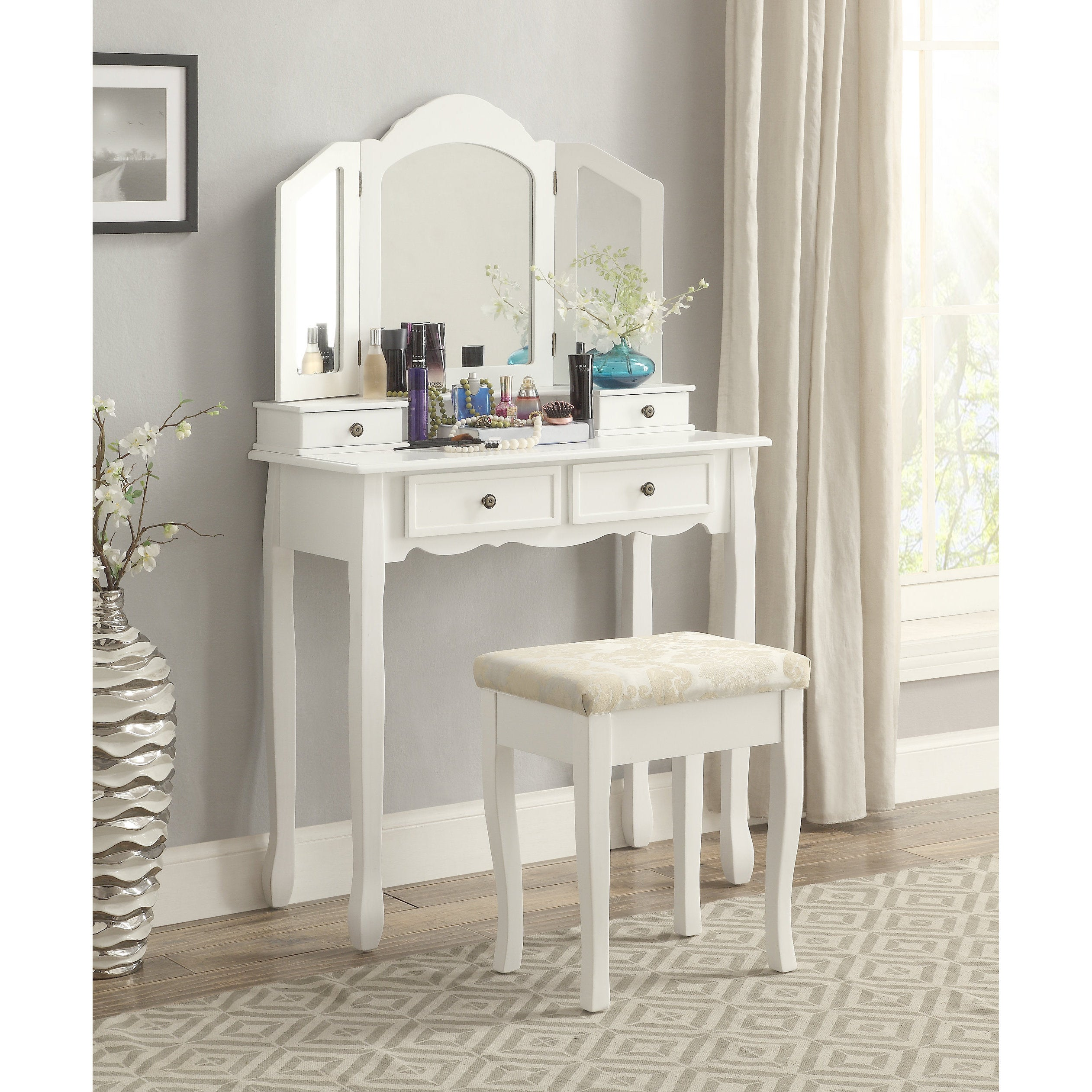 Clay Alder Home Clark White Wooden Vanity Make Up Table And Stool Set Free Shipping Today 20255188