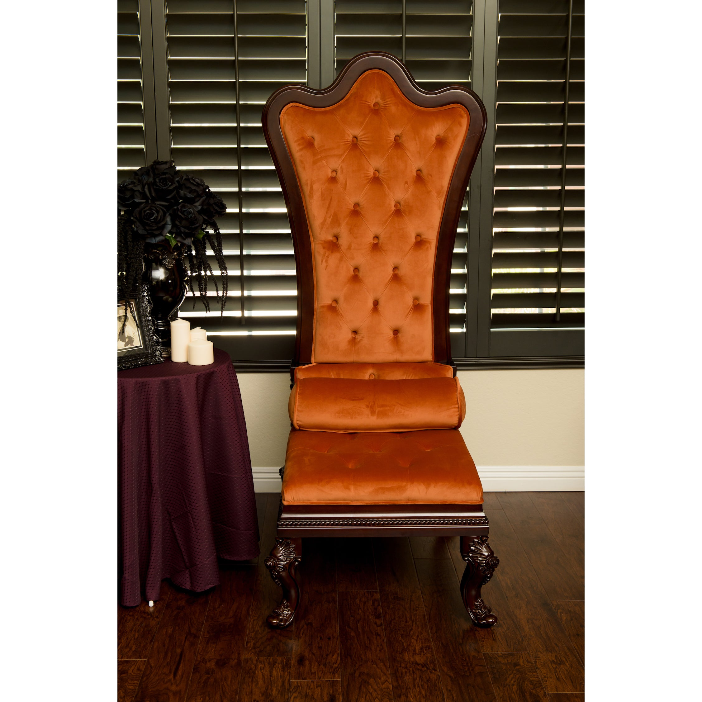 Miraculous Gothic Inspired Orange Velvet High Back Throne Chair Beutiful Home Inspiration Ommitmahrainfo
