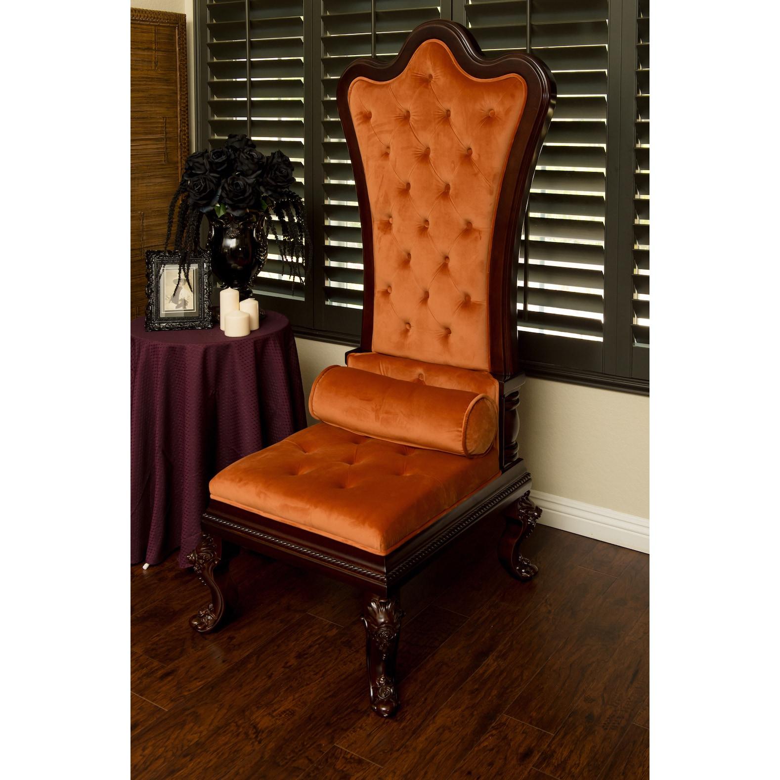 Gothic Inspired Orange Velvet High Back Throne Chair Free Shipping