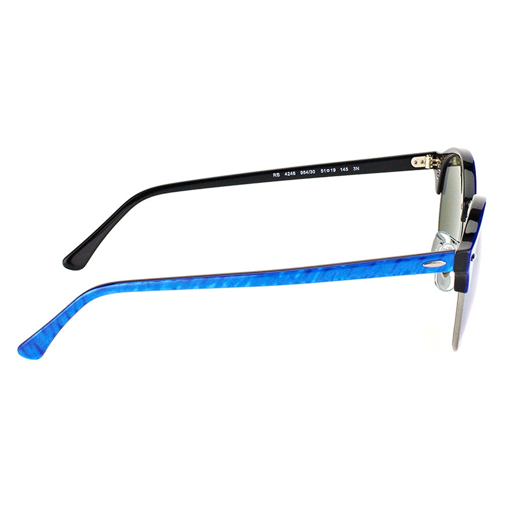 4e501e8c4dec9 Shop Ray-Ban RB 4246 984 30 Clubround Wrinkled Blue On Black Plastic  Clubmaster Sunglasses with Silver Mirror Lens - Free Shipping Today -  Overstock - ...