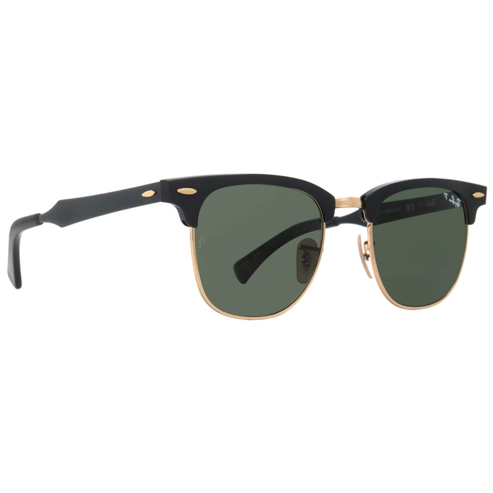 7a31304556 Shop Ray-Ban RB3507 136 N5 Clubmaster Aluminum Black Frame Polarized Green  51mm Lens Sunglasses - Free Shipping Today - Overstock - 14442248