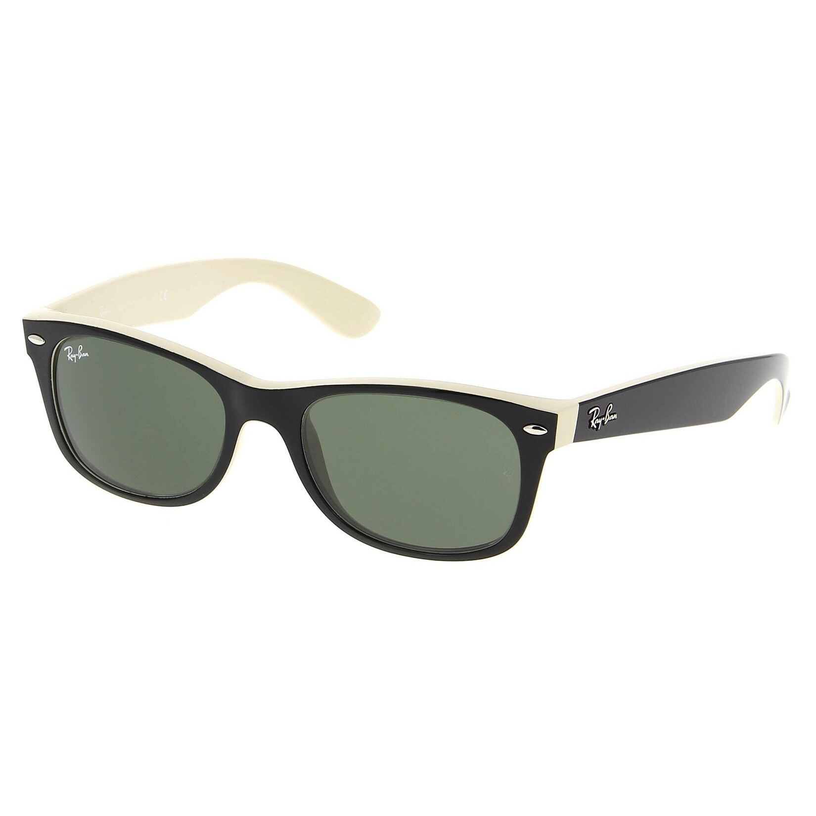99ab374b1d Ray-Ban RB2132 875 New Wayfarer Color Mix Black Light Brown Frame Green  Classic 52mm Lens Sunglasses