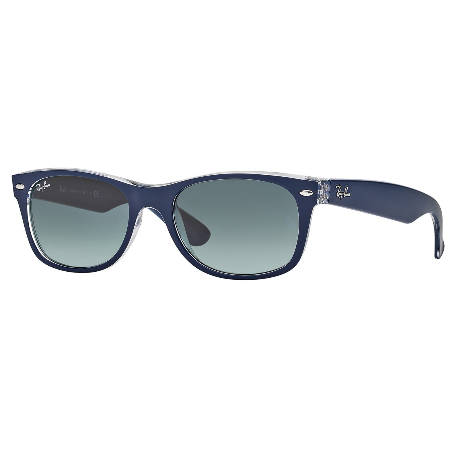 40b06339415 Ray-Ban RB2132 605371 New Wayfarer Color Mix Blue Clear Frame Grey Gradient  55mm Lens Sunglasses
