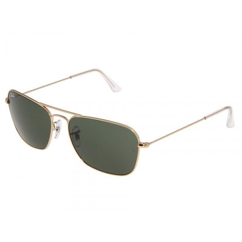 f00b81b16af Ray-Ban RB3136 001 Caravan Gold Frame Green Classic 58mm Lens Sunglasses