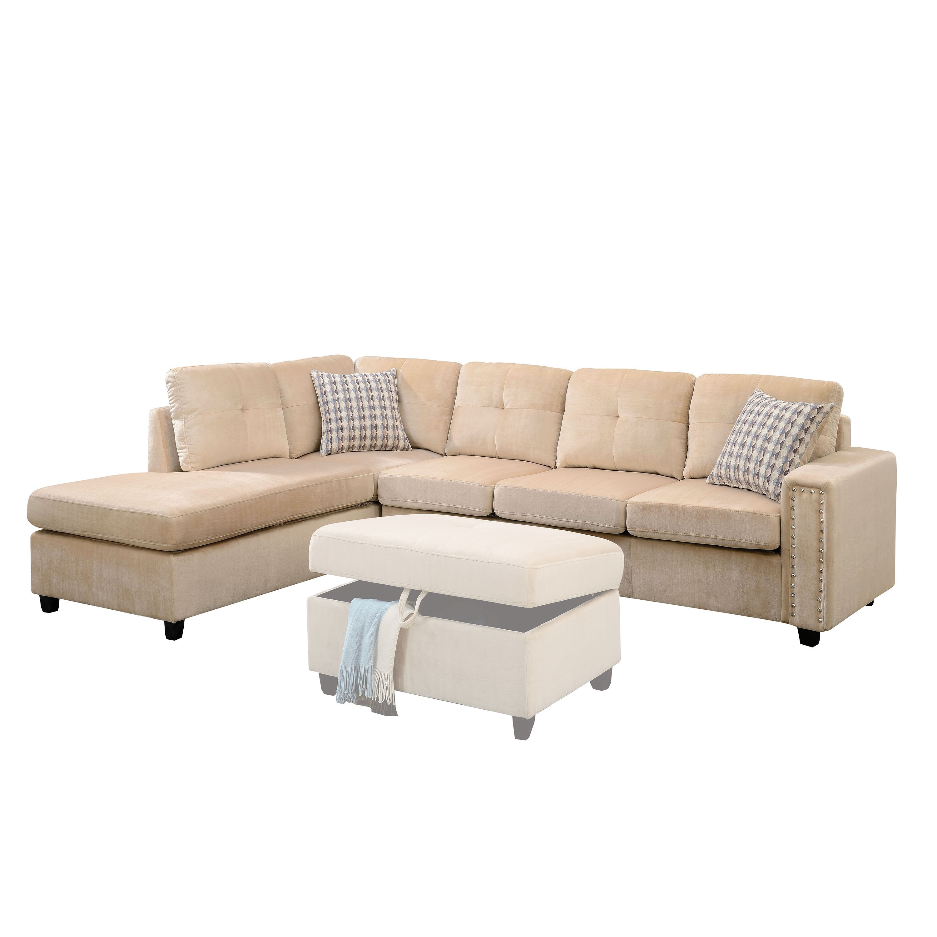 Acme Furniture Belville Sectional Sofa With Pillows Reversible Free Shipping Today 14442416