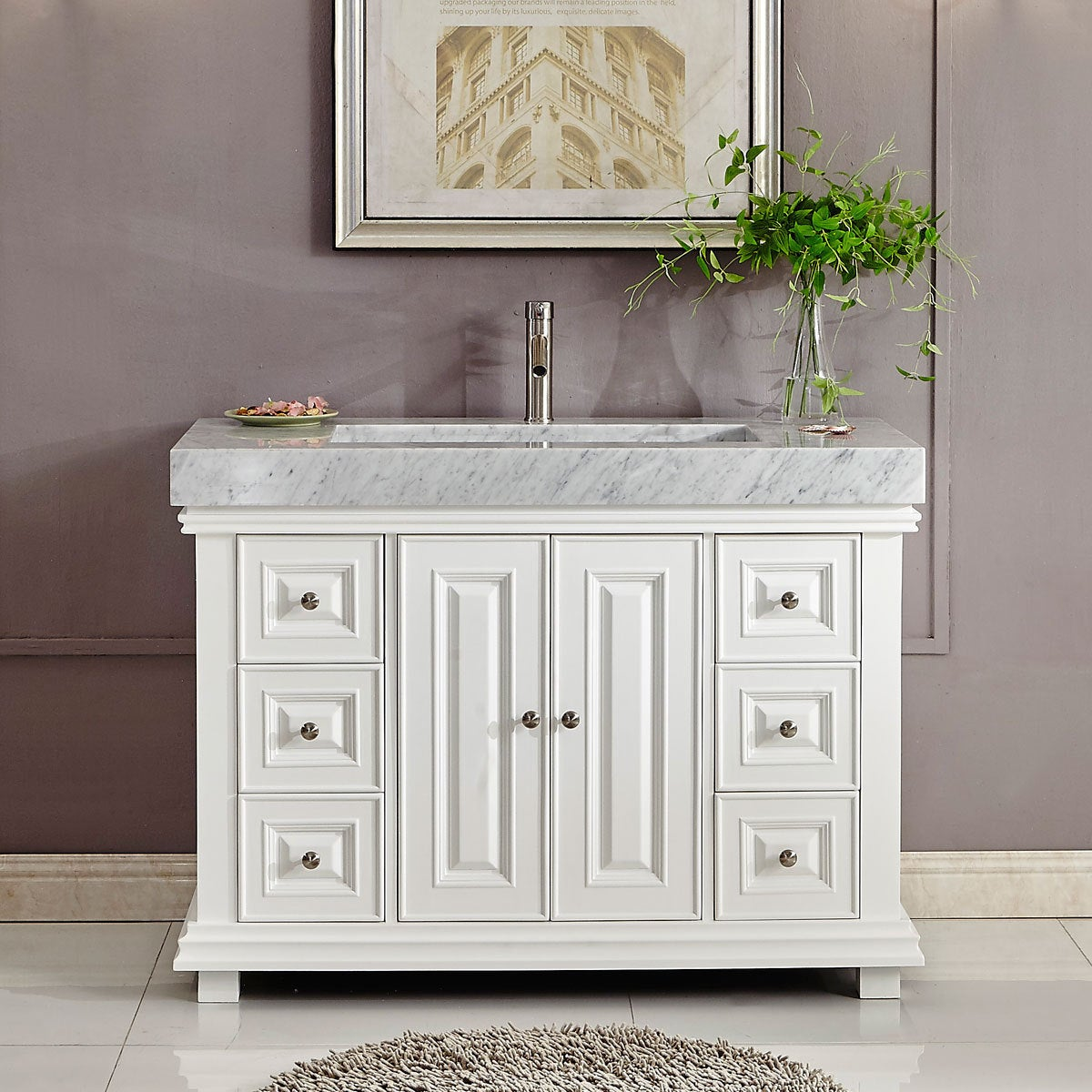 Shop Silkroad Exclusive 48 Inch Contemporary Bathroom Vanity Single Sink  Cabinet W/ Soft Close   Free Shipping Today   Overstock.com   14443140
