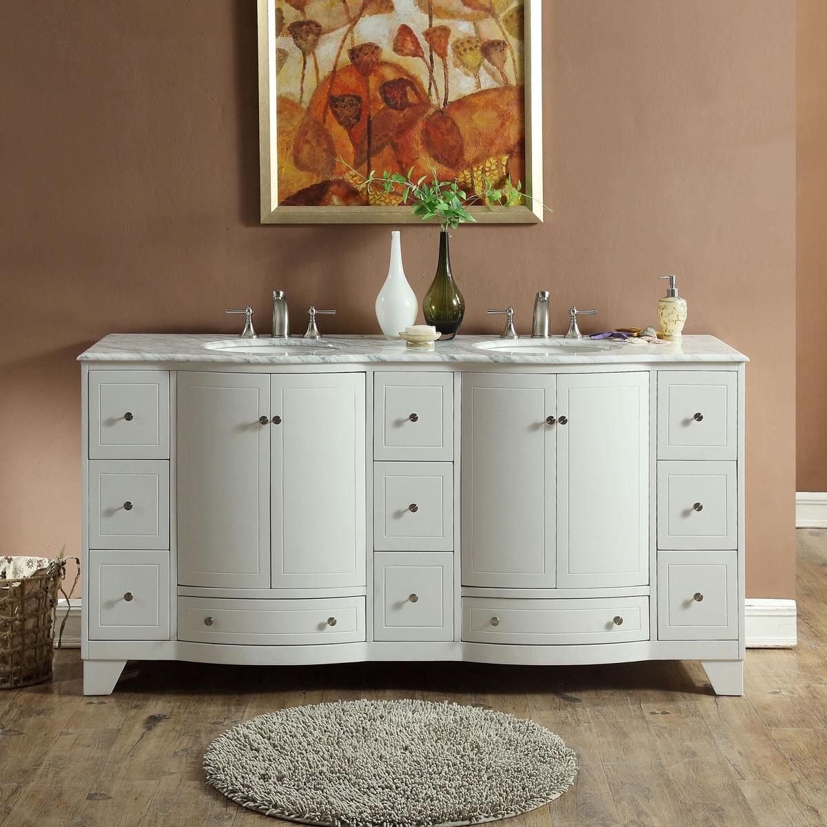 Silkroad Exclusive 72 Inch Transitional Bathroom Vanity Double Sink Cabinet