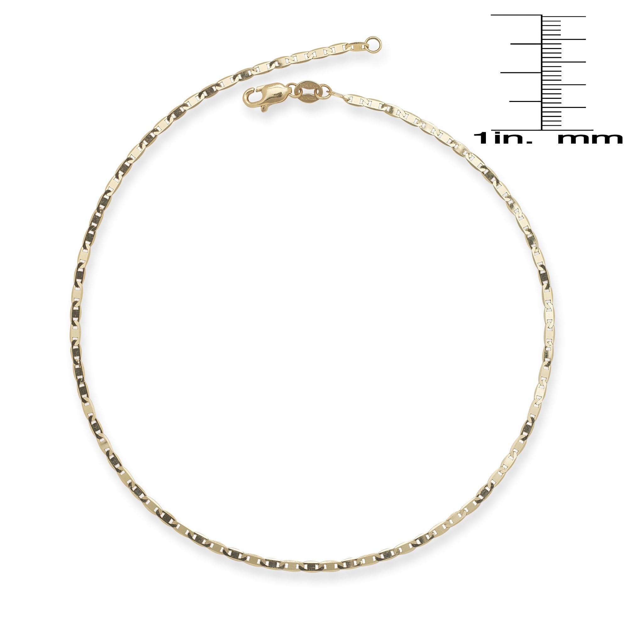 anklet free jewelry figaro inches karat product rose yellow overstock watches gold solid inc bracelet today mcs shipping
