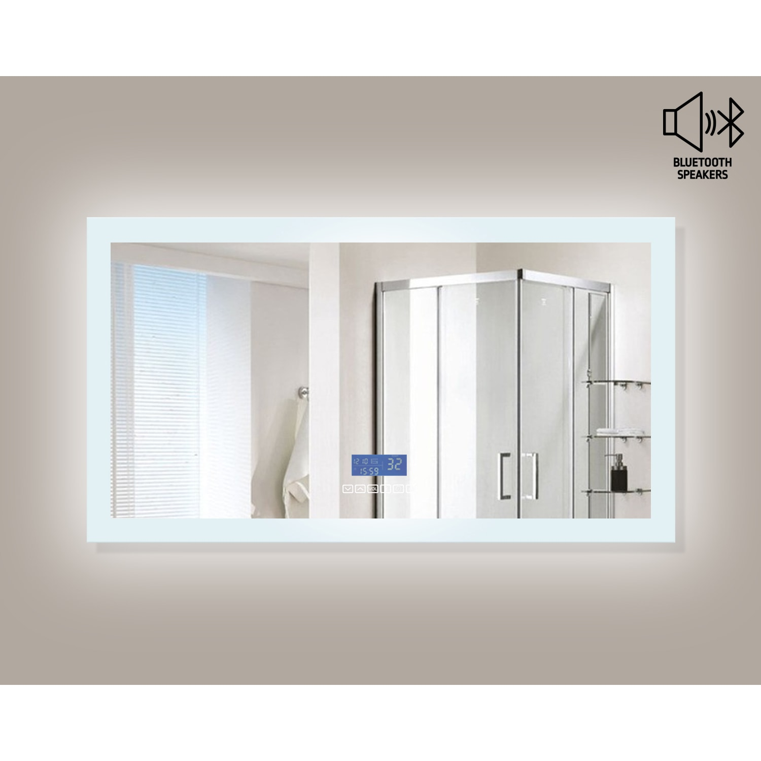 Encore BLU102 LED Illuminated Bathroom Mirror with Built-In ...