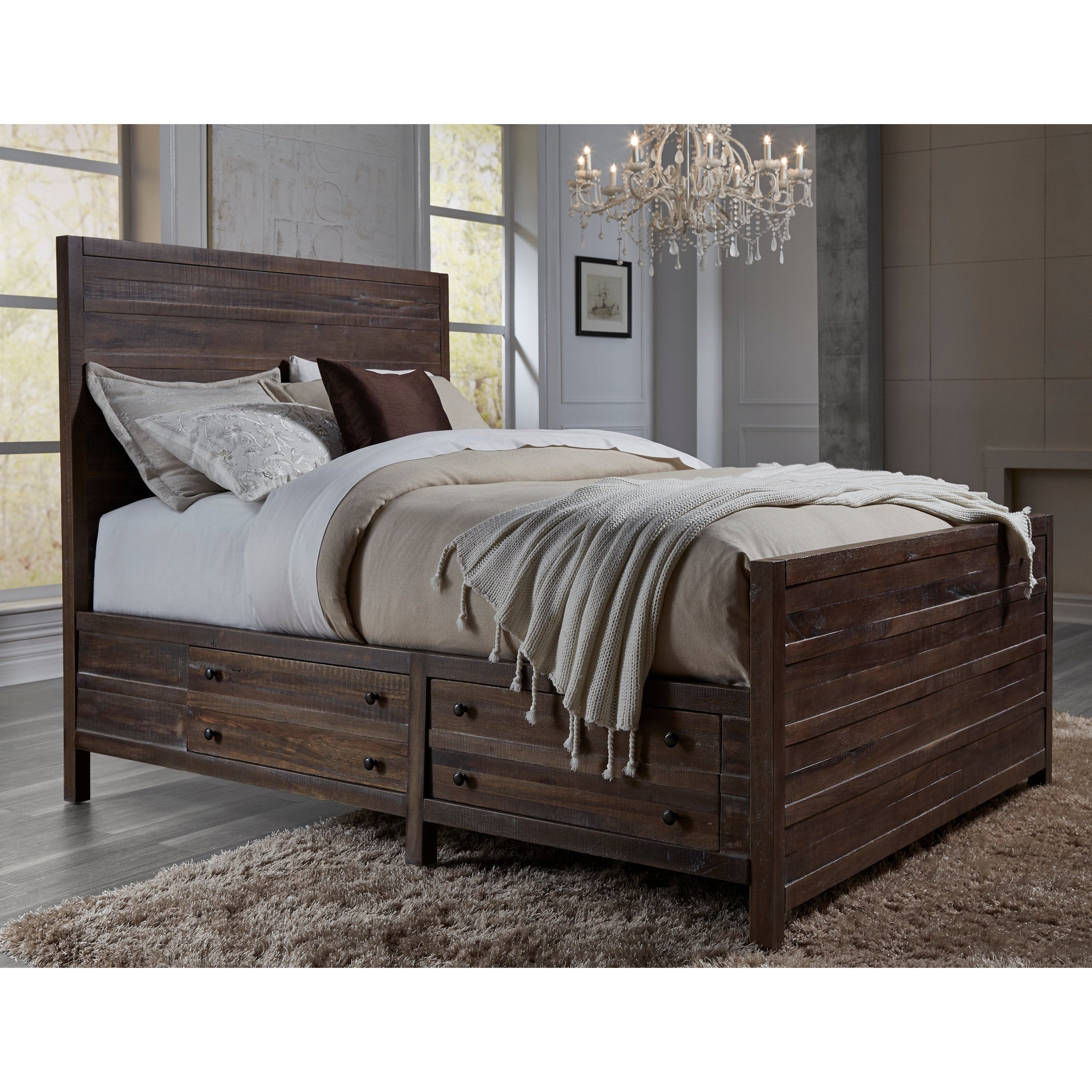 Shop Townsend Solid Wood Storage Bed In Java Free Shipping Today