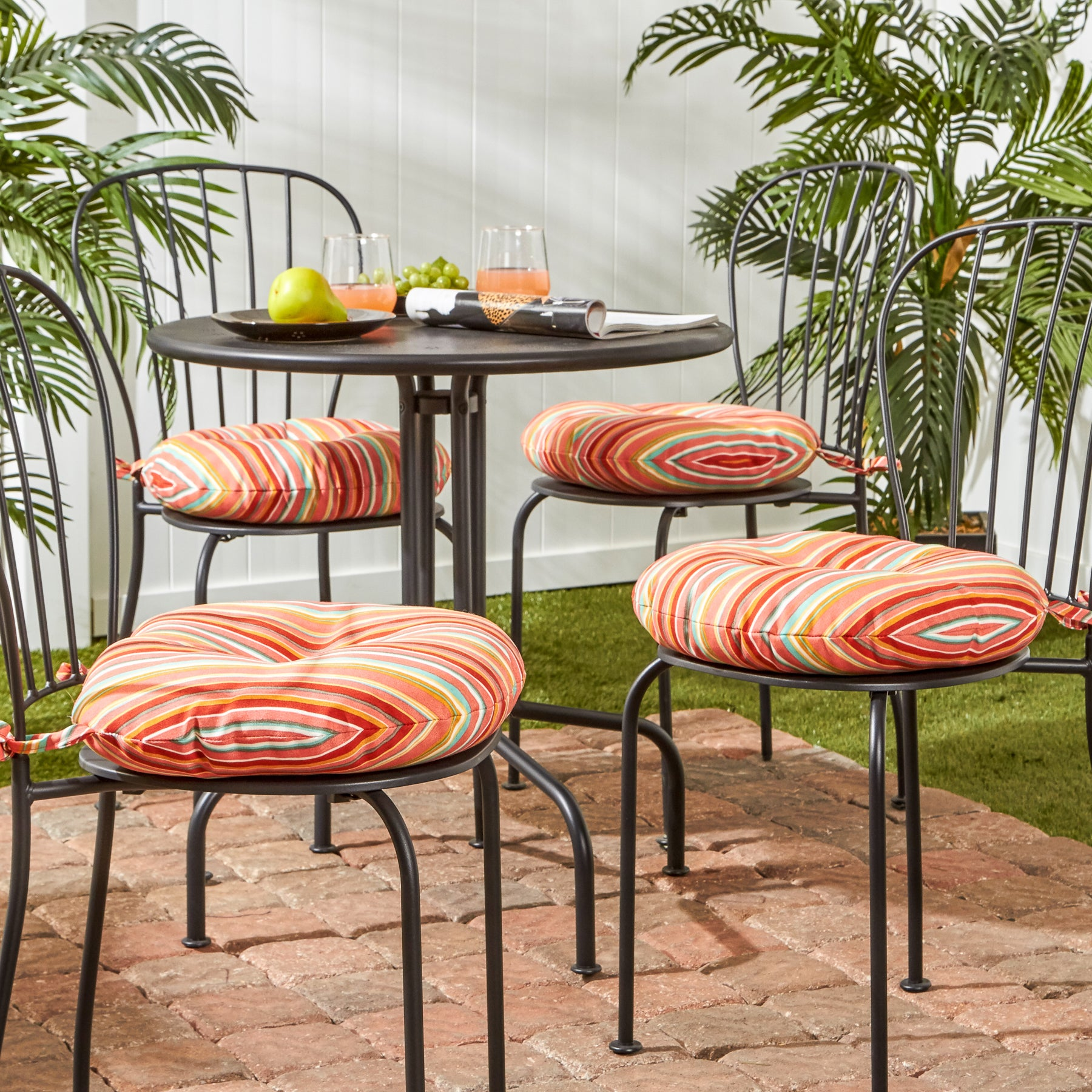 Havenside Home Colton 16 Inch Outdoor Round Stripe Bistro Chair Cushion Set Of 4