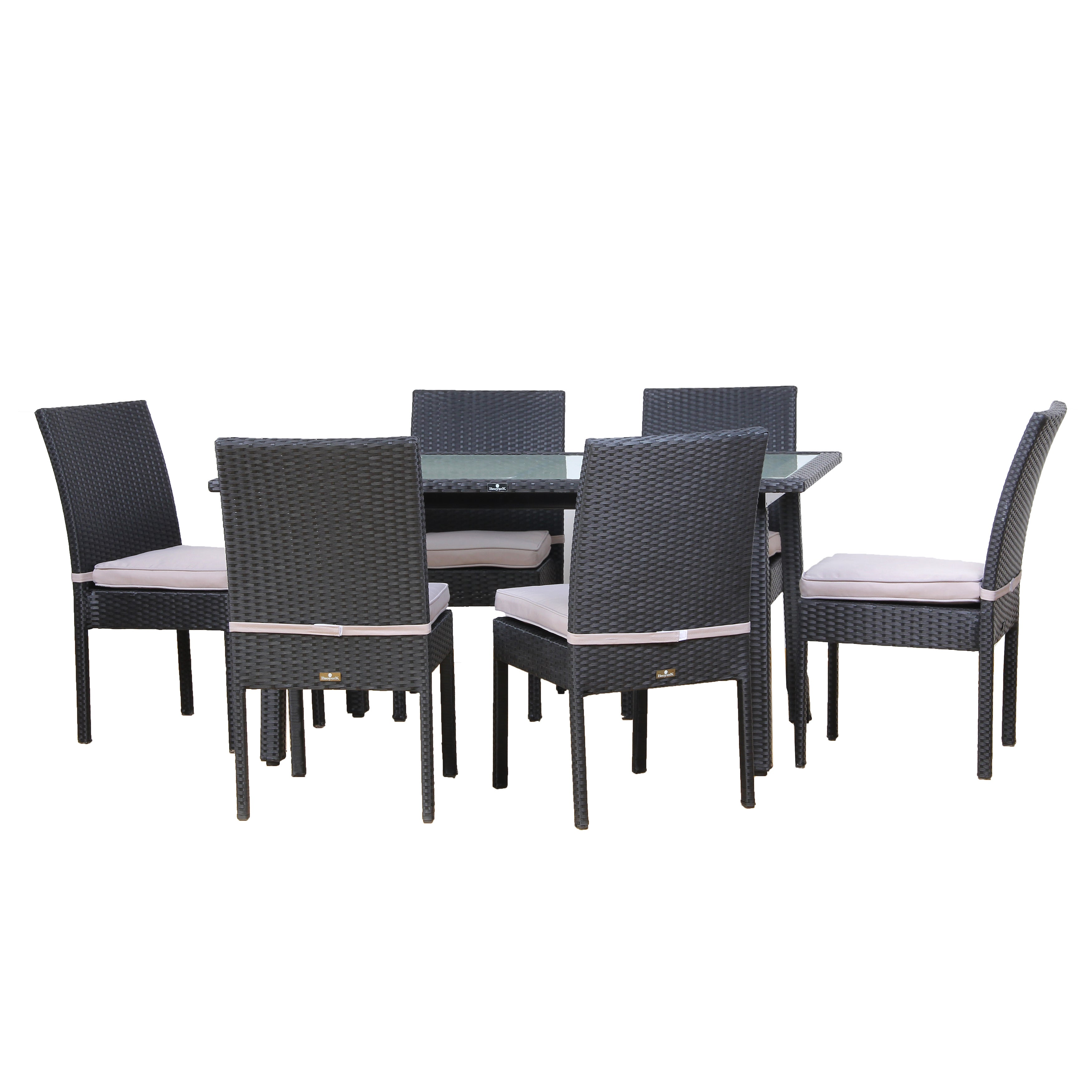 Broyerk Outdoor Dining Set Gl Table 6 Chairs Patio Furniture Free Shipping Today 21014309