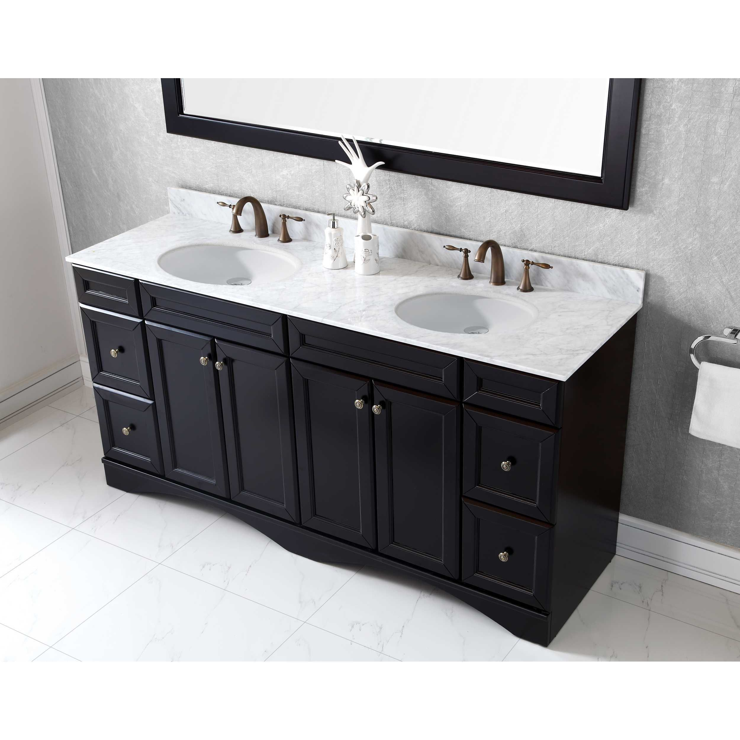 Virtu Usa Talisa 72 Inch Round White Marble Double Bathroom Vanity Set Without Faucets On Free Shipping Today 14452216