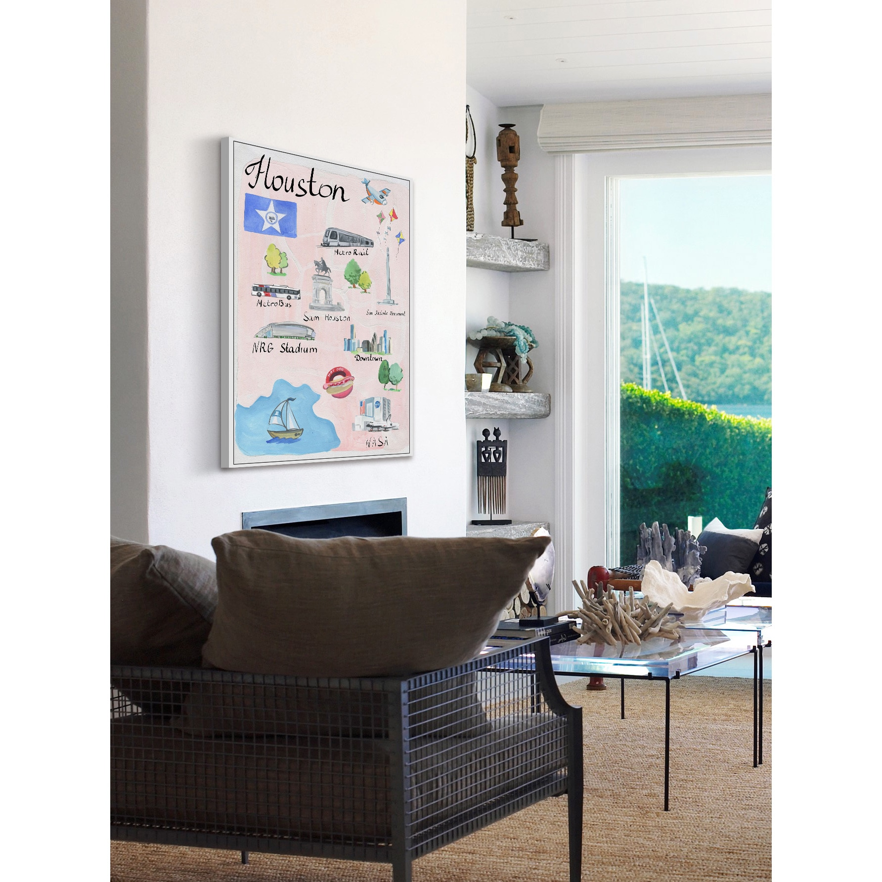 Shop Marmont Hill   U0027Houston Iconsu0027 Floater Framed Painting Print On Canvas    Pink   On Sale   Free Shipping Today   Overstock.com   14452493