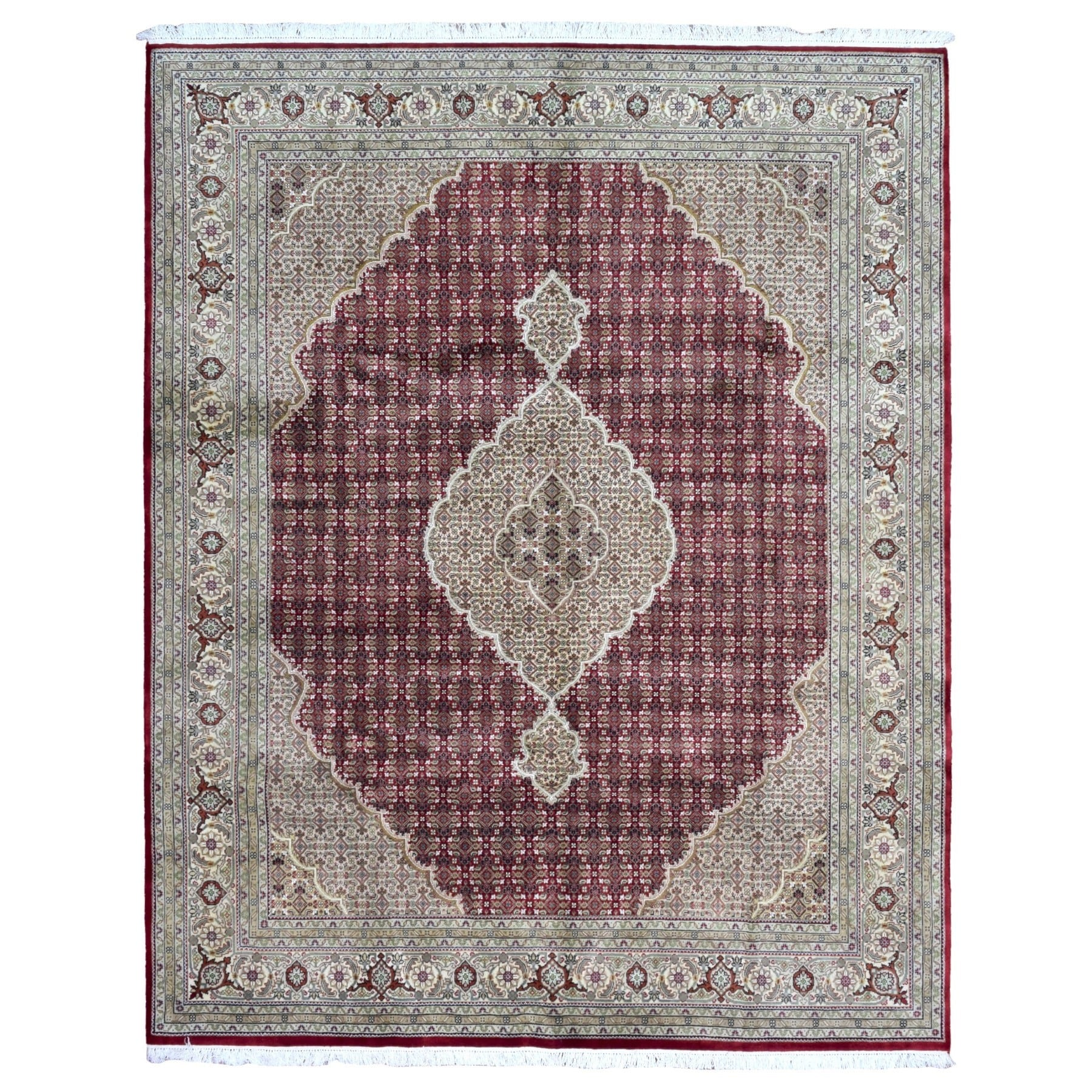 Finerugcollection Hand Knotted Mahi Tabriz With Silk Flowers Red Wool Oriental Rug On Free Shipping Today 14452979