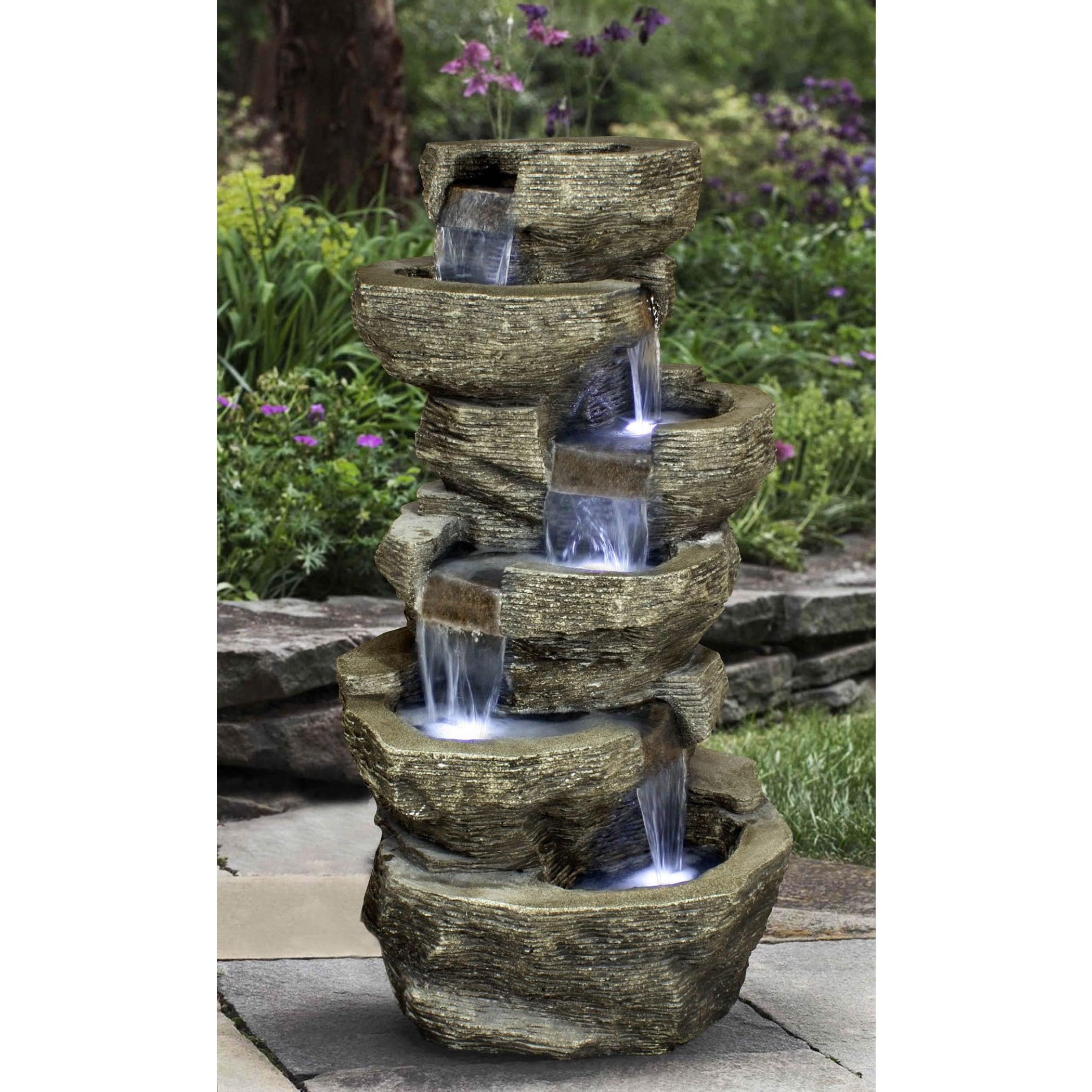 Zenvida Outdoor Tiered Rock Waterfall 39 inch Garden Fountain