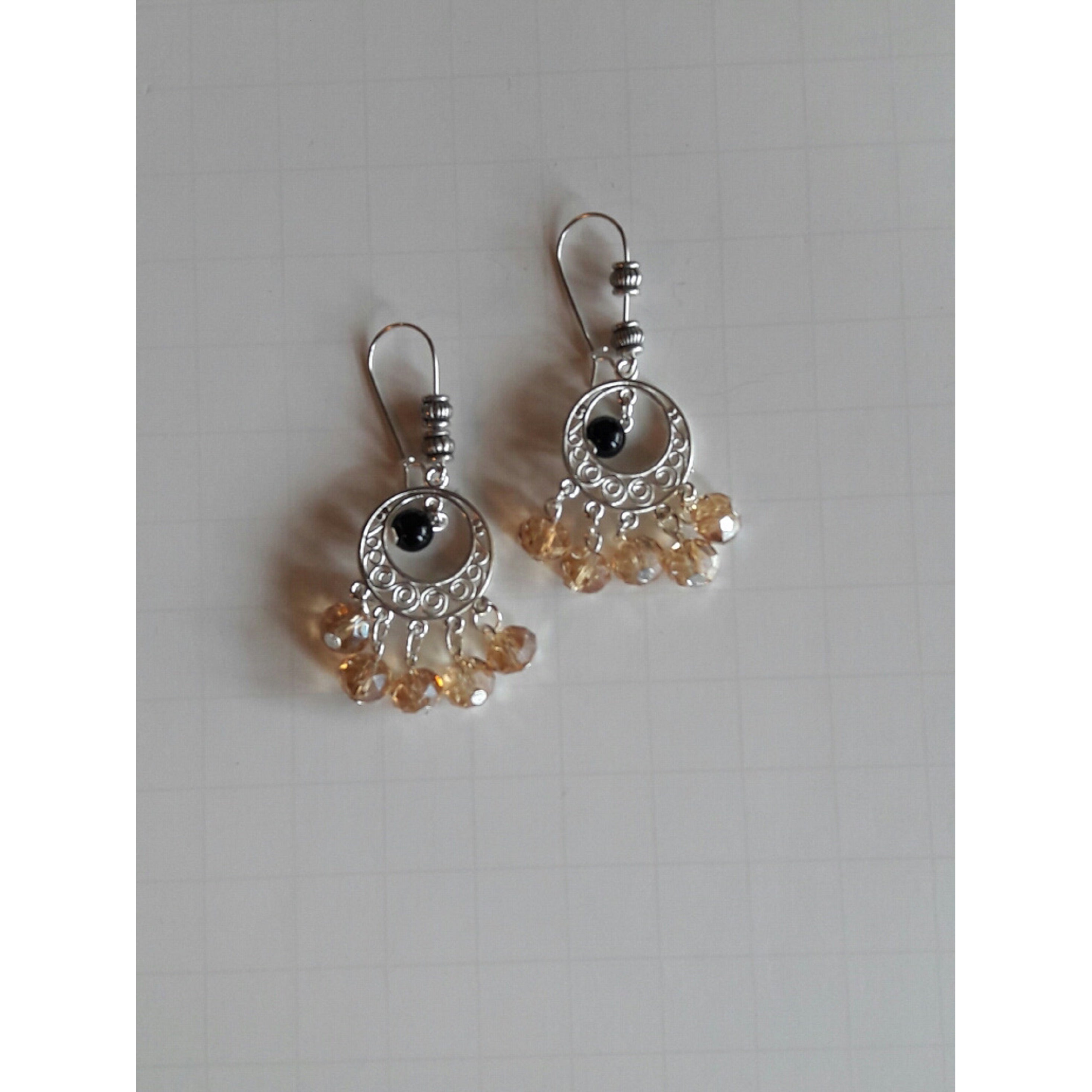 ff3c388ac6c21 Handmade Champagne Crystal Chandelier Earrings (USA)