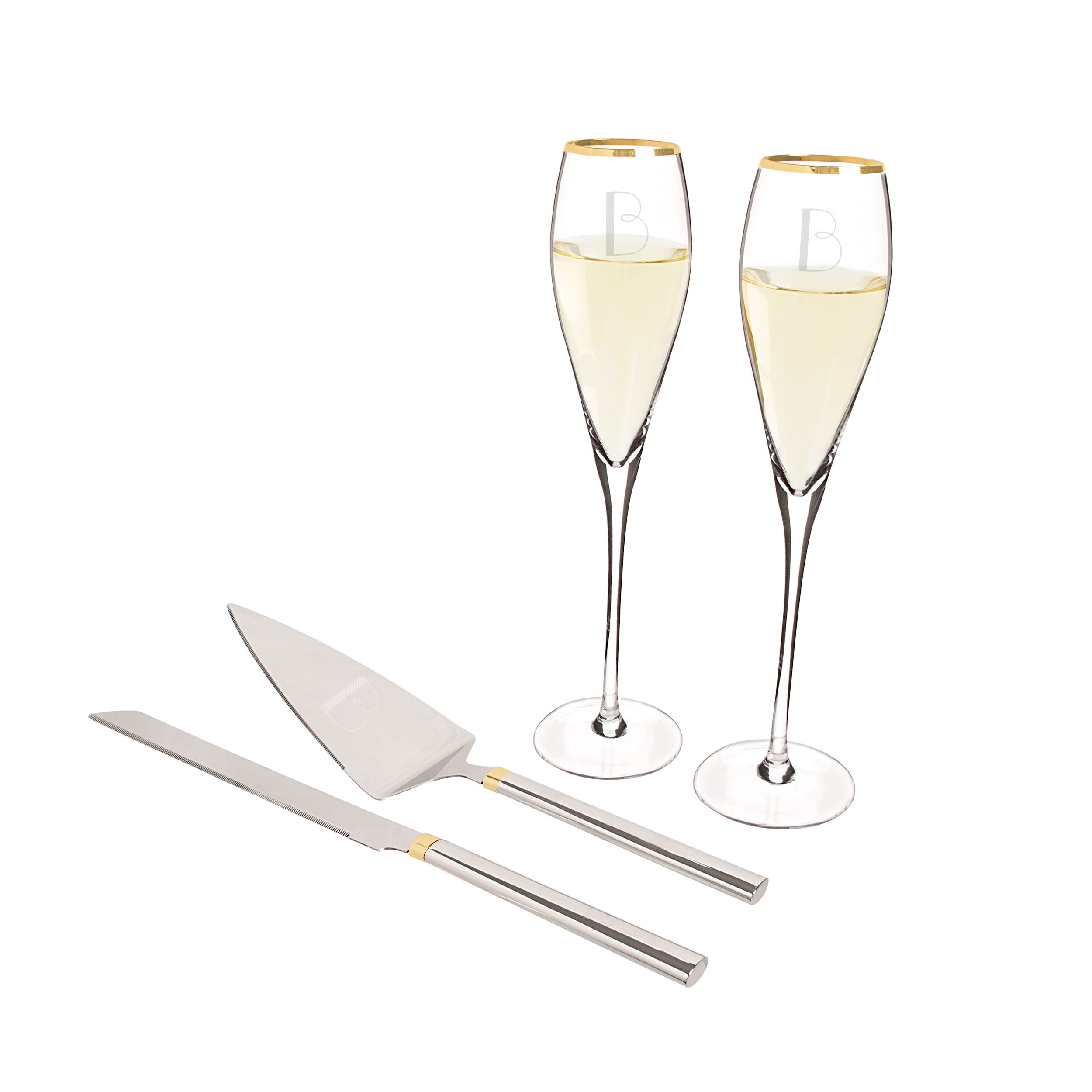Personalized Gold Champagne Flutes & Cake Serving Set Free
