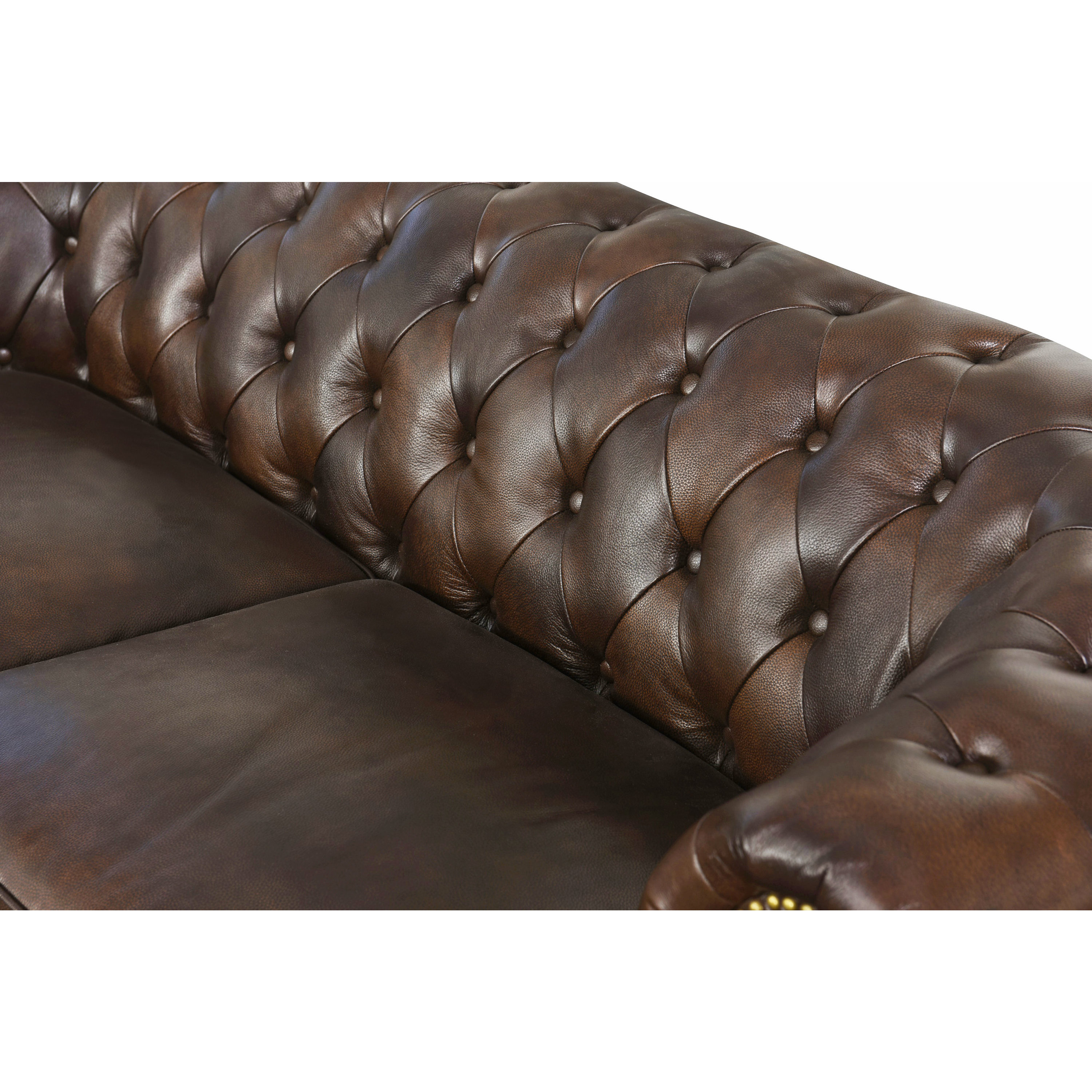 Abbyson Montego Top Grain Leather Tufted Sofa On Free Shipping Today 14458091