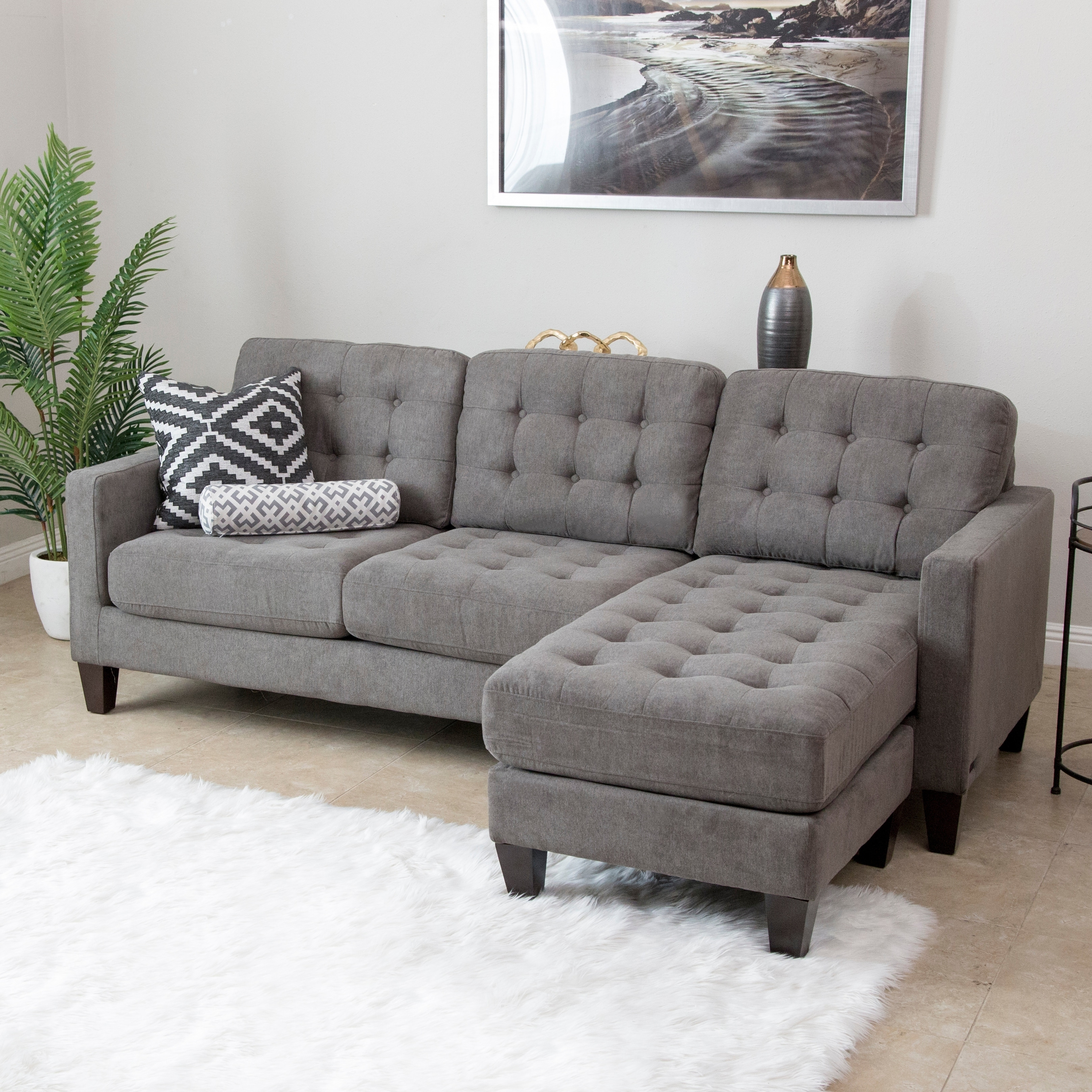 Shop Abbyson Easton Grey Fabric Reversible Sectional Sofa - On Sale ...