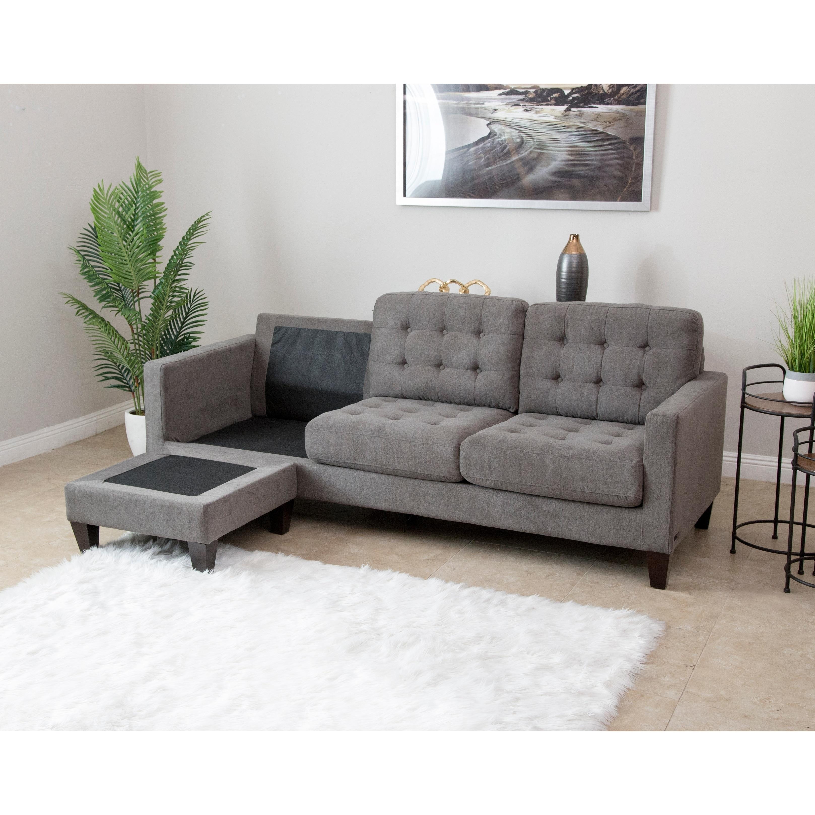 Shop Abbyson Easton Grey Fabric Reversible Sectional Sofa On Sale