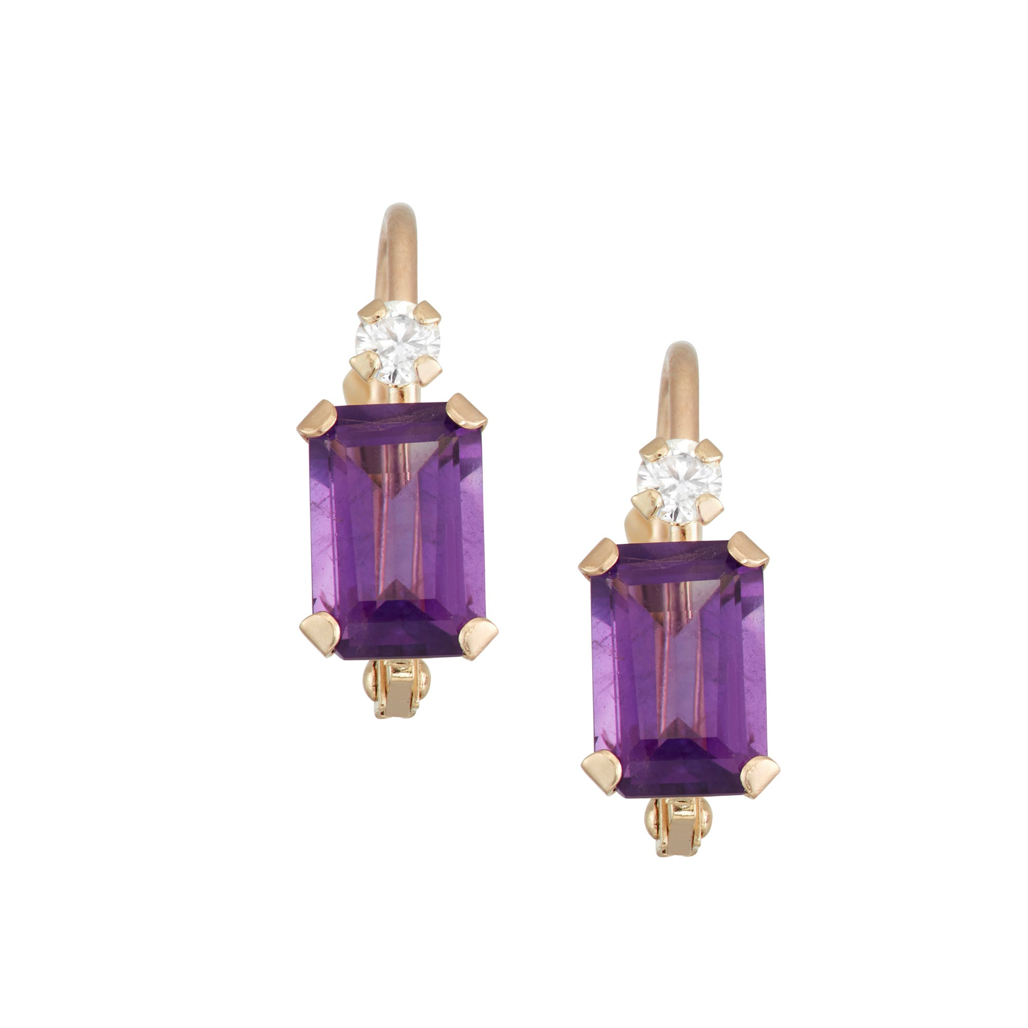 Gioelli 10k Gold Amethyst Leverback Earrings On Free Shipping Today 14460765