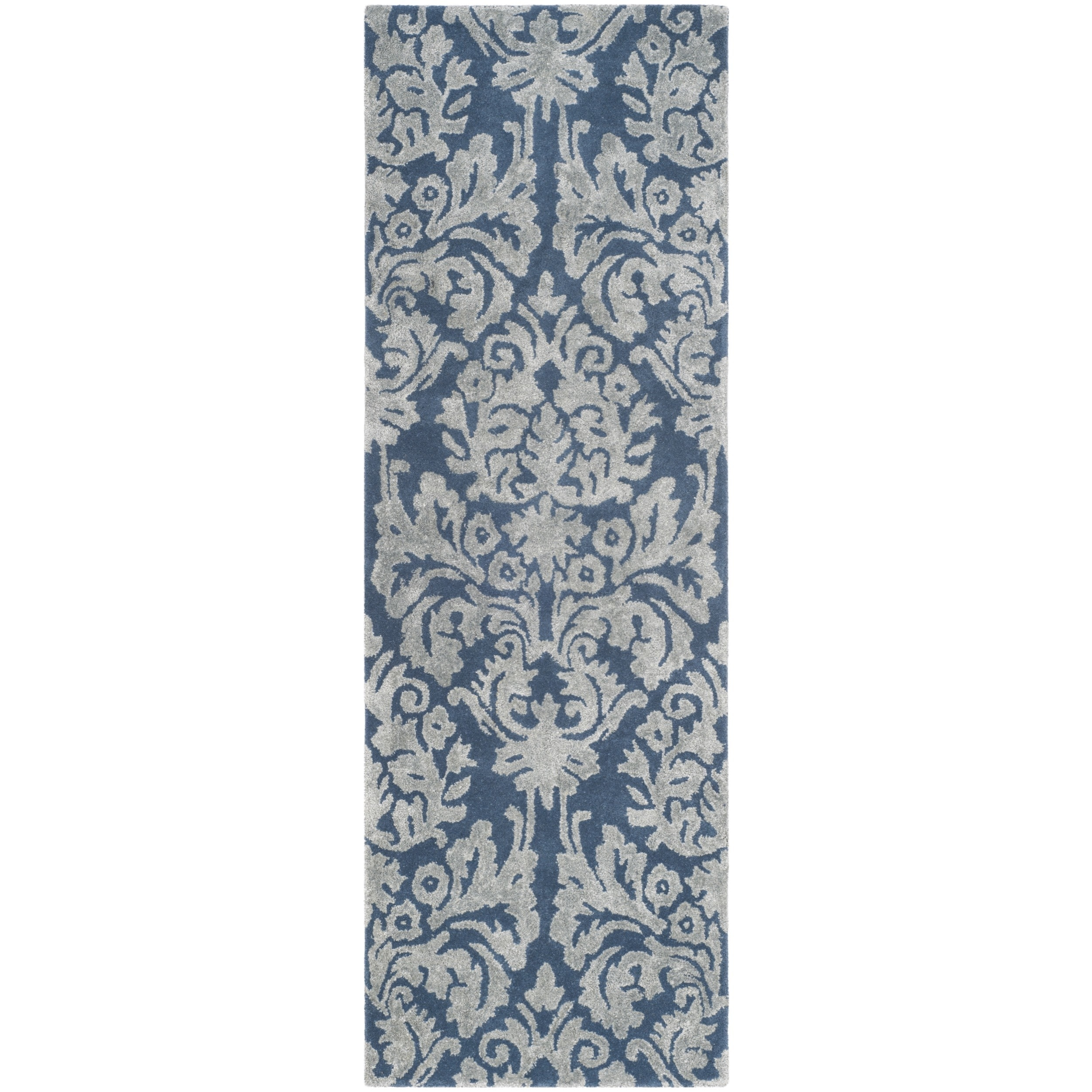 Shop Safavieh Bella Hand-Woven Wool Navy / Grey Area Rug Runner - 2 ...