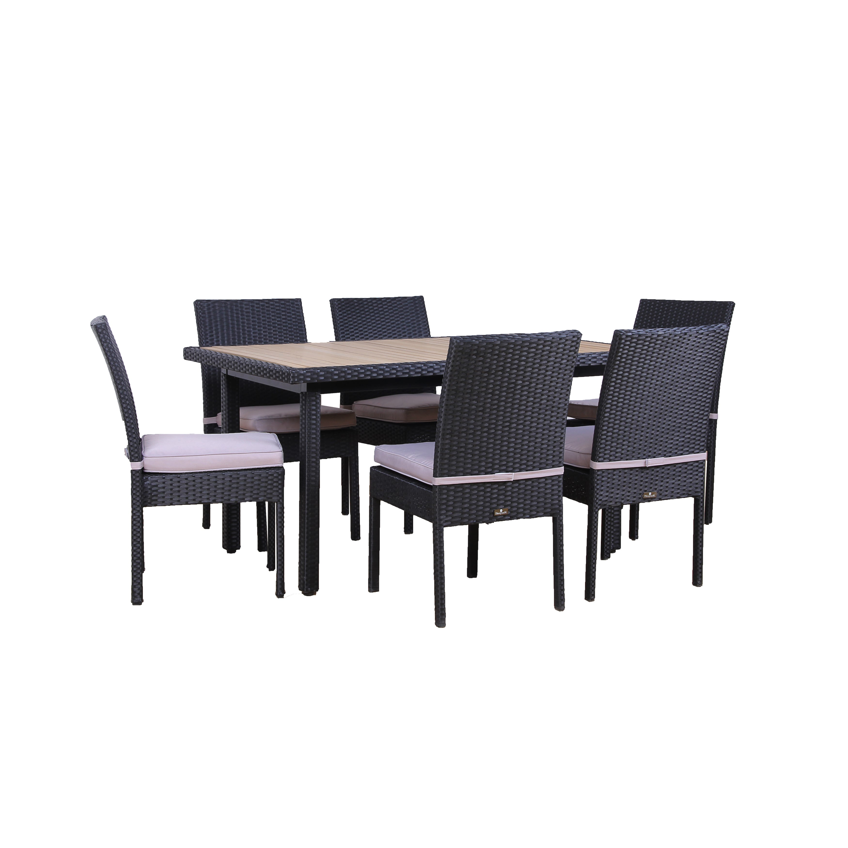 Broyerk Outdoor Dining Set Plastic Wood Top Table 6 Chairs Patio Furniture Free Shipping Today 14462503