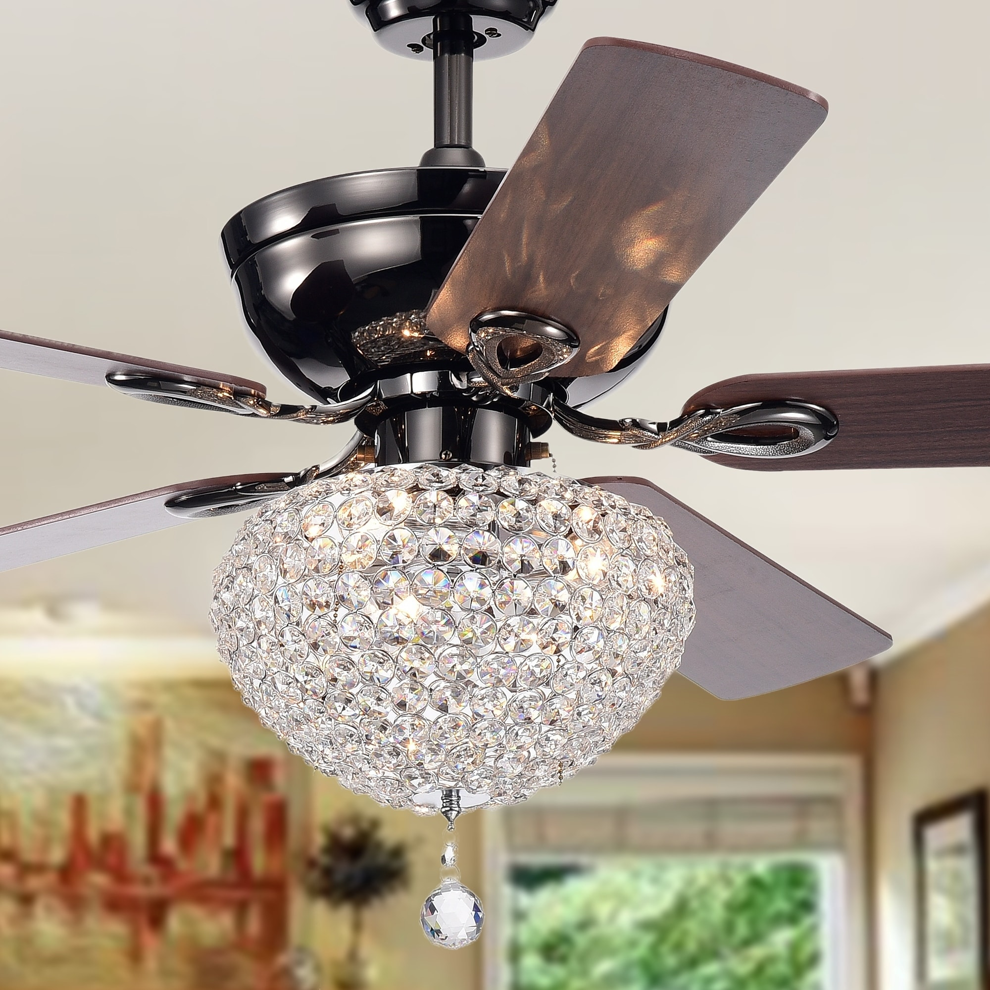 Shop Taliko 3 Light Crystal Basket 5 Blade Wood With Black Metal Wall Control Fan Switch Pull Cord Housing 52 Inch Ceiling Optional Remote On Sale Free Shipping Today